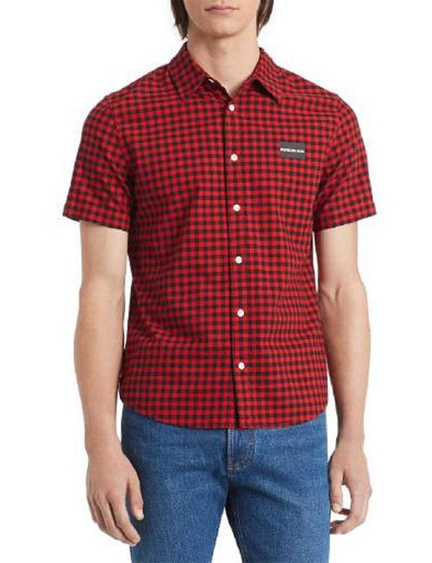 Calvin Klein Red / Black Casual Button Down Shirts