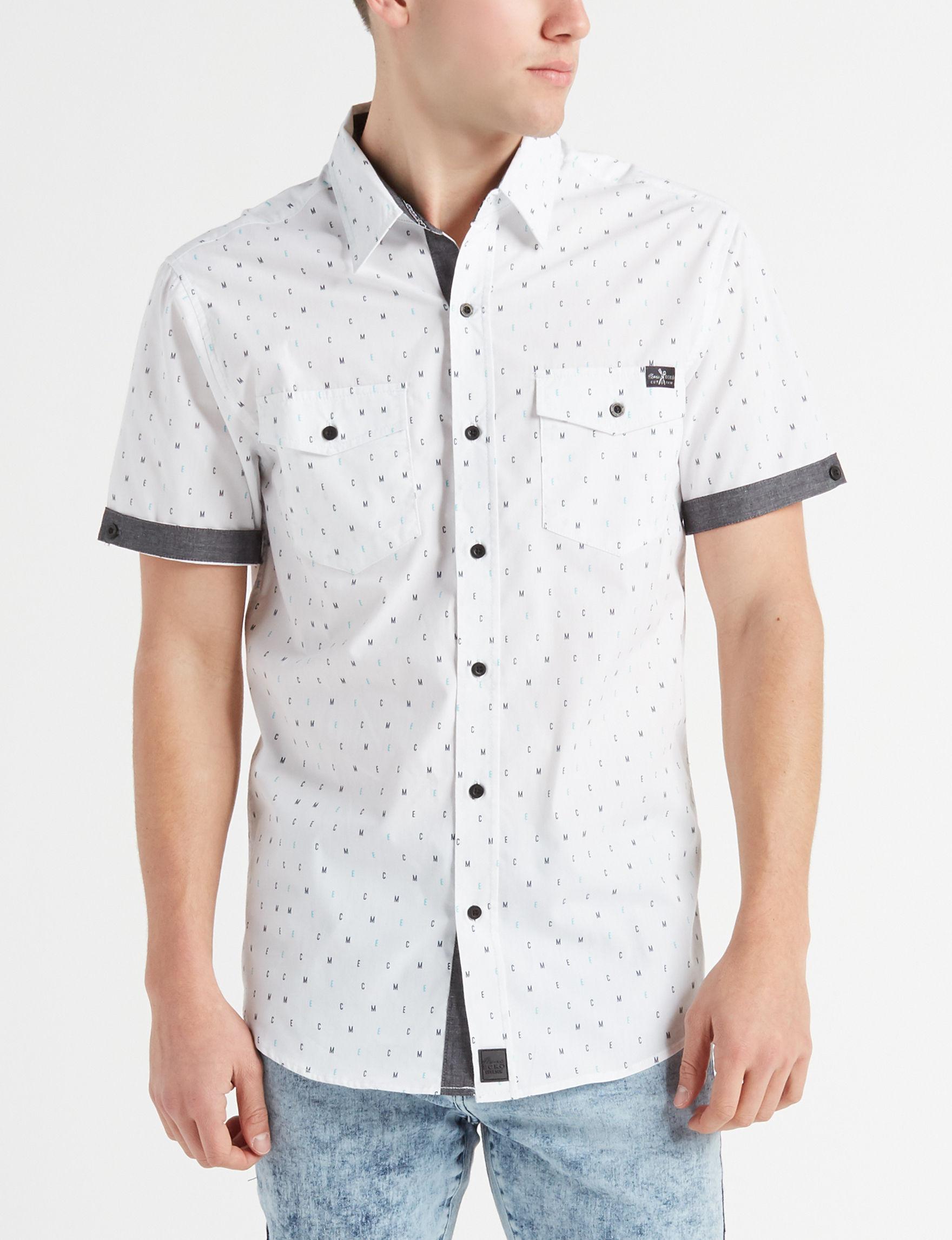 Marc Ecko White Multi Casual Button Down Shirts