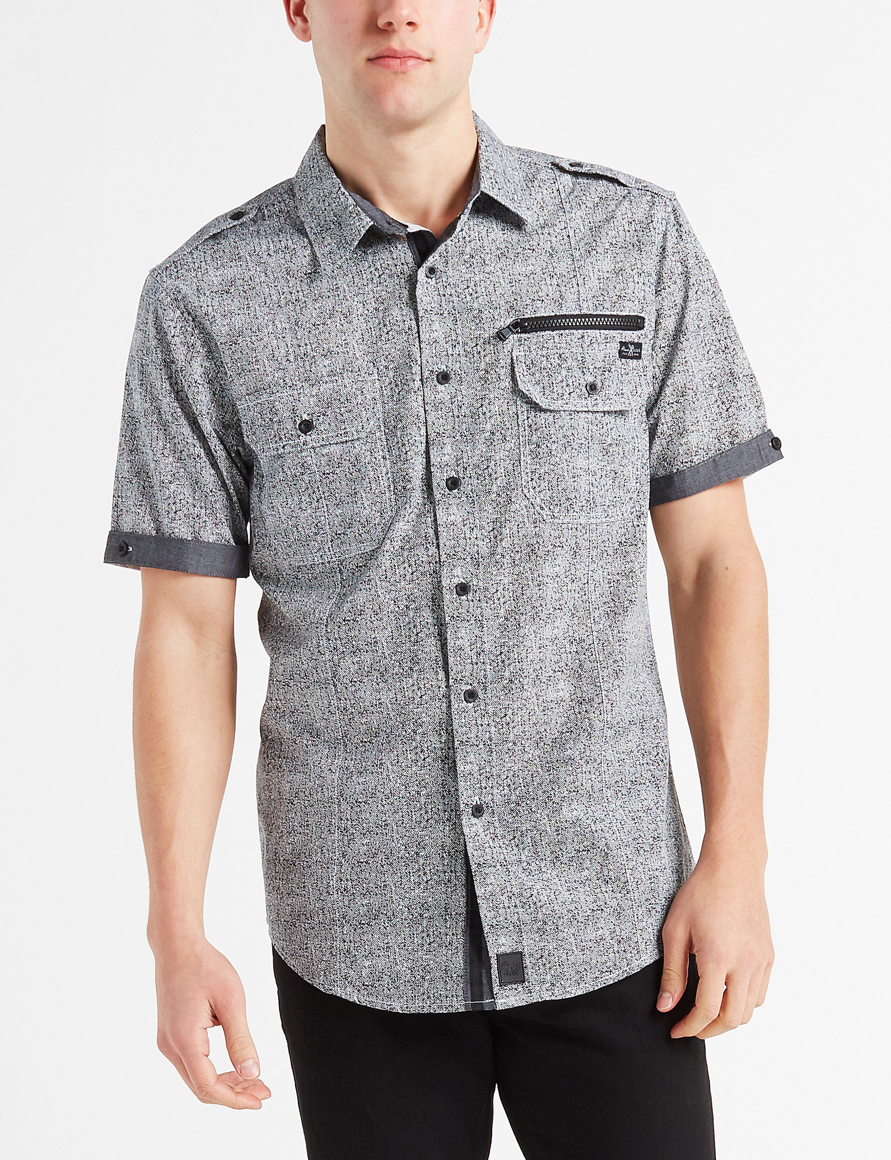 Marc Ecko Grey / Black Casual Button Down Shirts