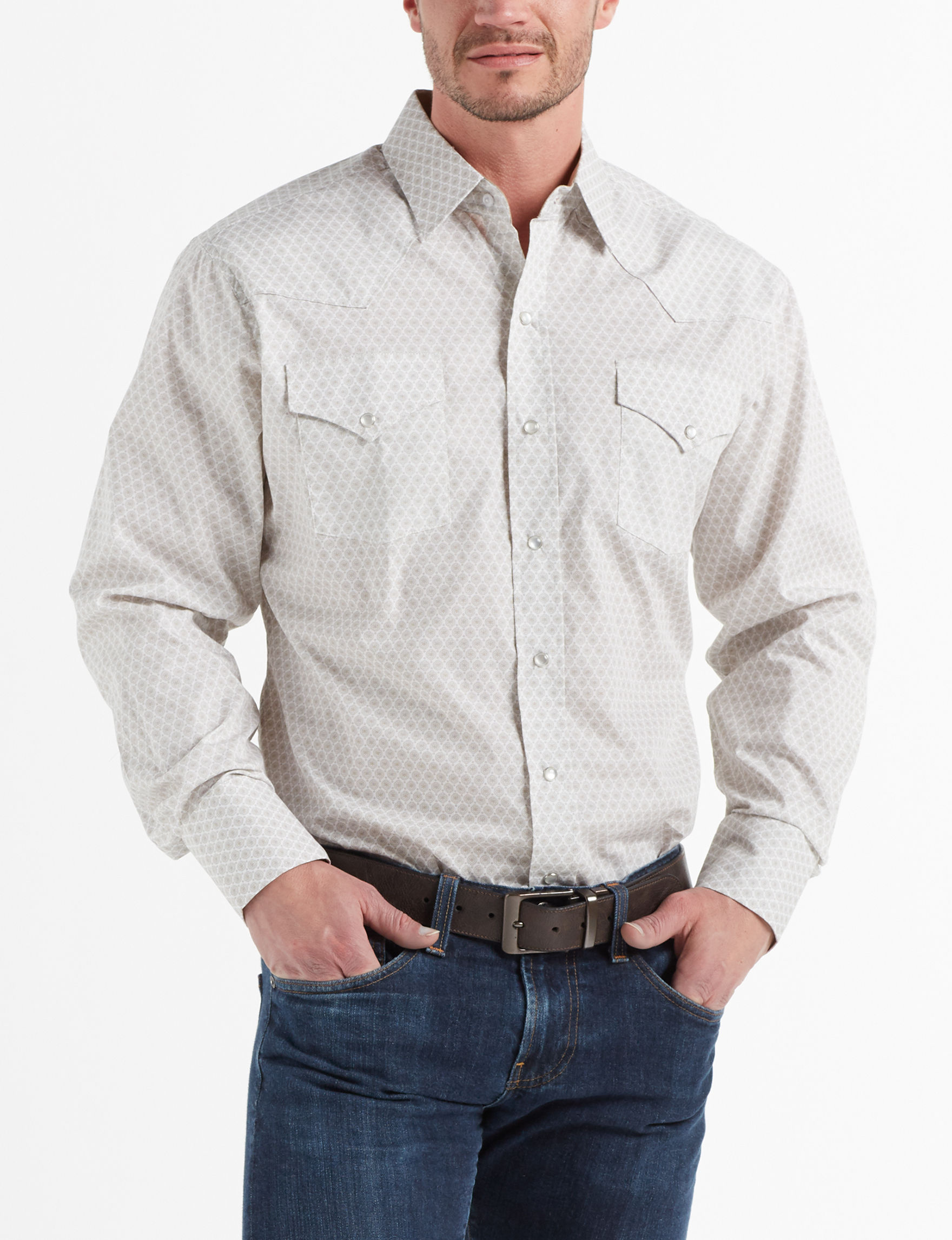 Ely Cattleman Tan Multi Casual Button Down Shirts