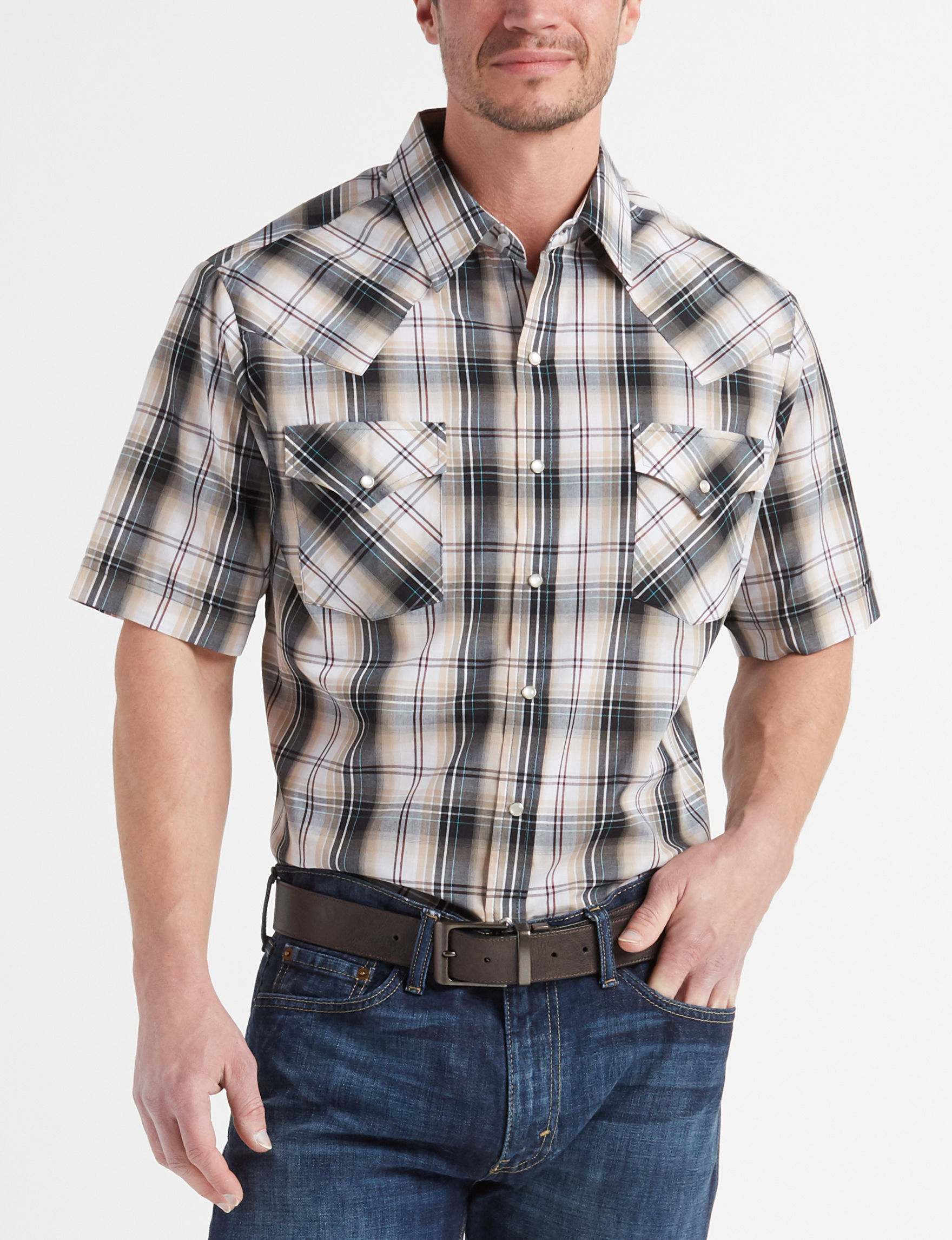 Ely Cattleman Grey Plaid Casual Button Down Shirts