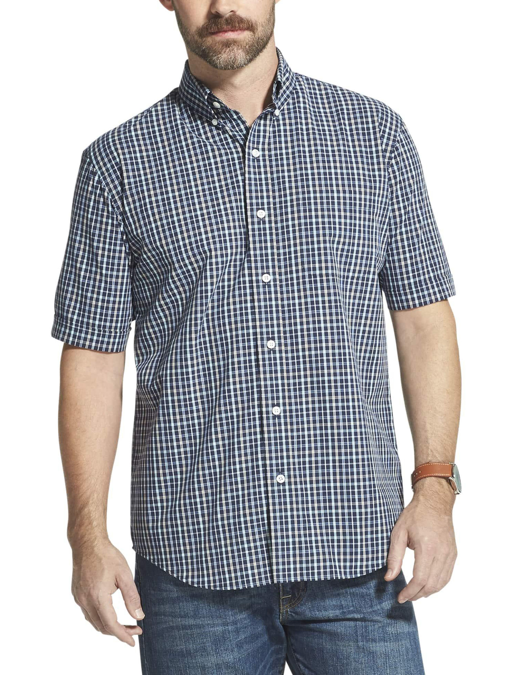 Arrow Navy Plaid Casual Button Down Shirts