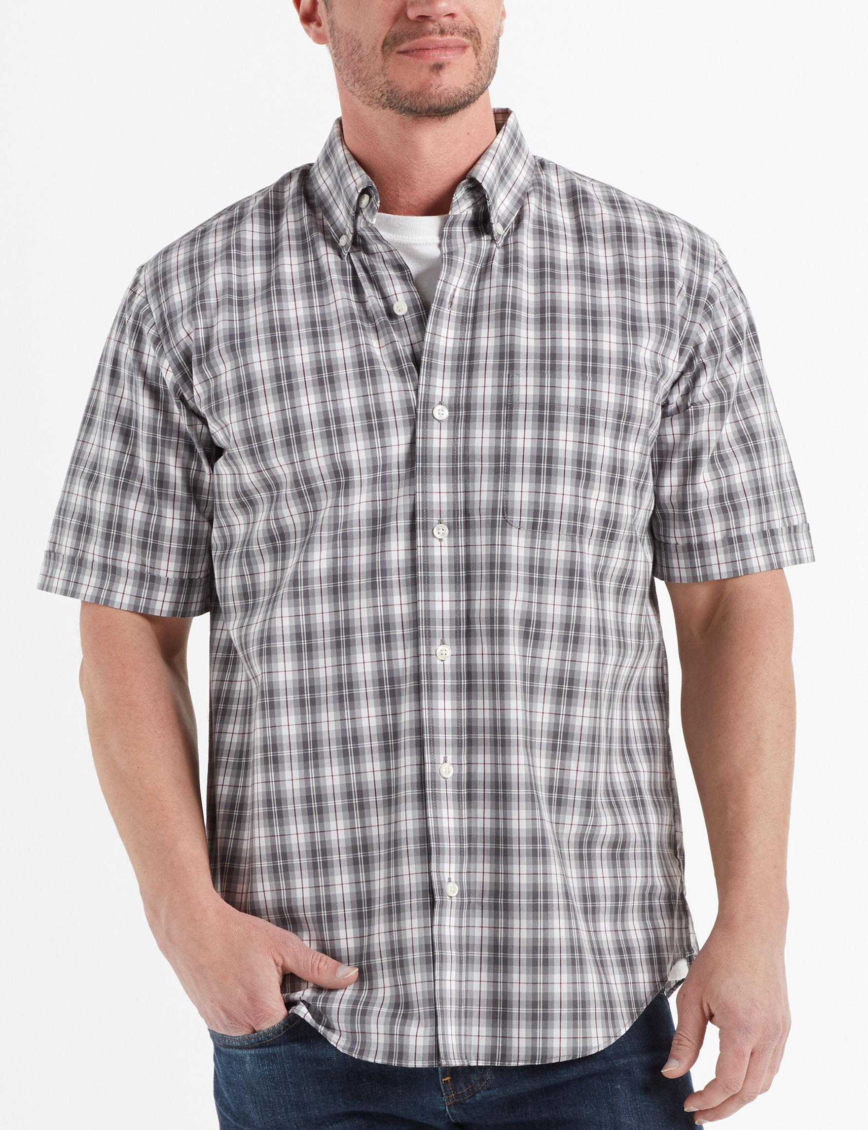 Arrow Dark Grey Plaid Casual Button Down Shirts