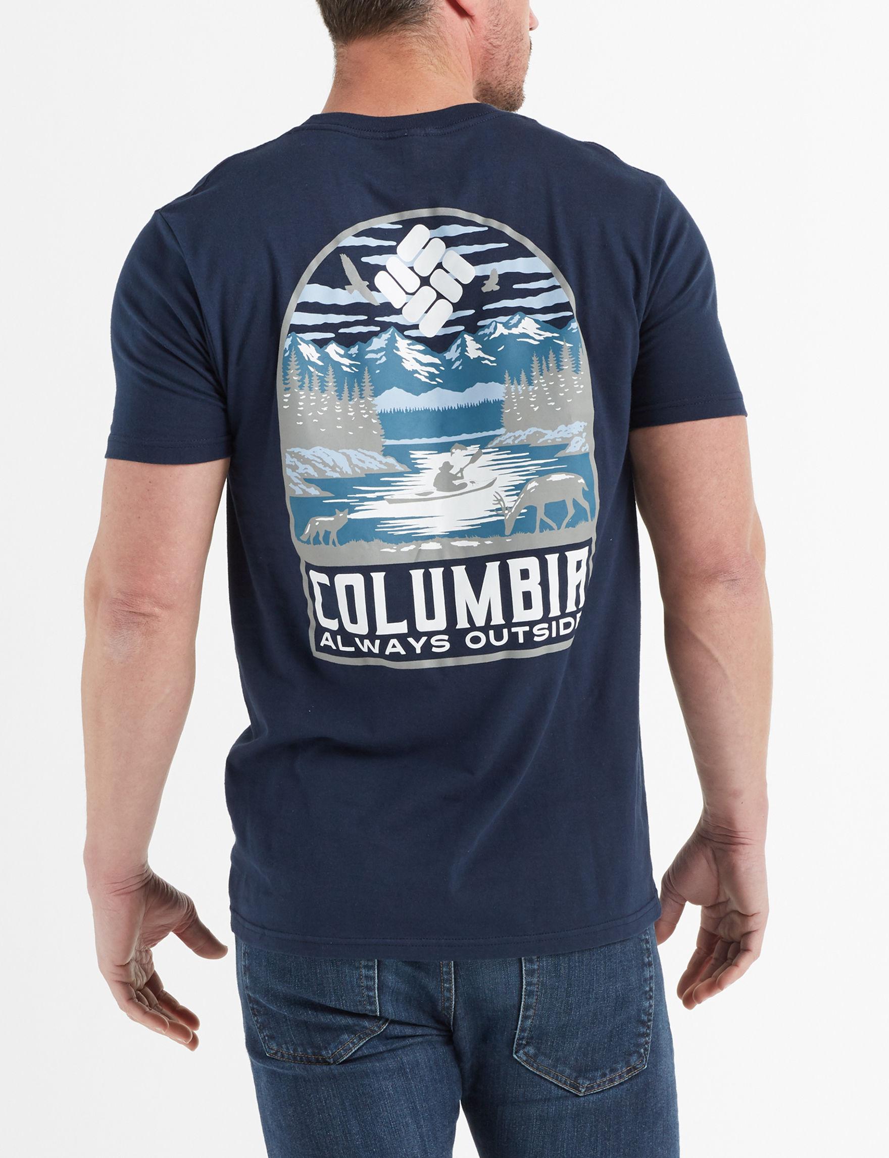 Columbia Columbia Navy Tees & Tanks