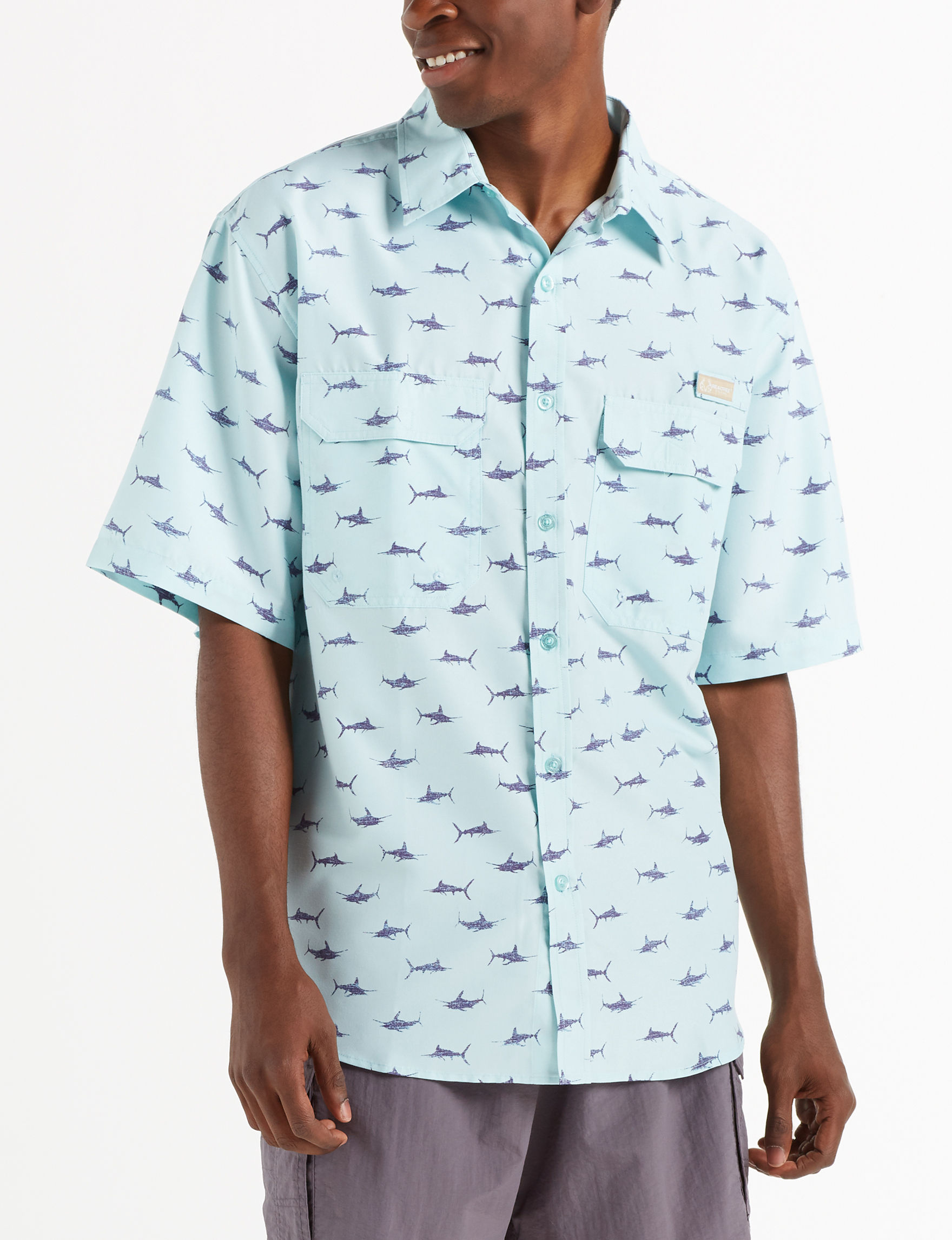Realtree Aqua Casual Button Down Shirts