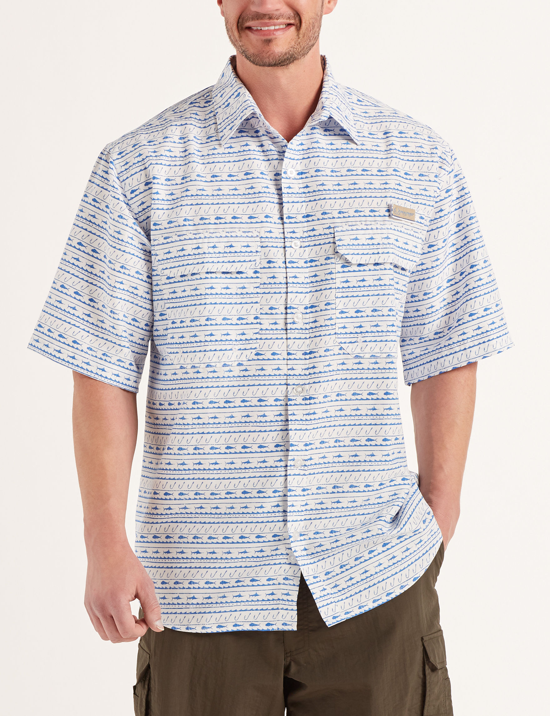 Realtree White / Blue Casual Button Down Shirts