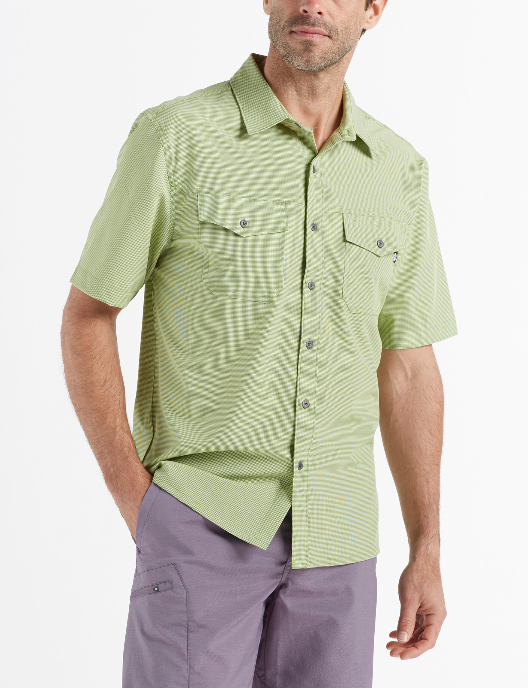 Hi-Tec Piquant Green Casual Button Down Shirts