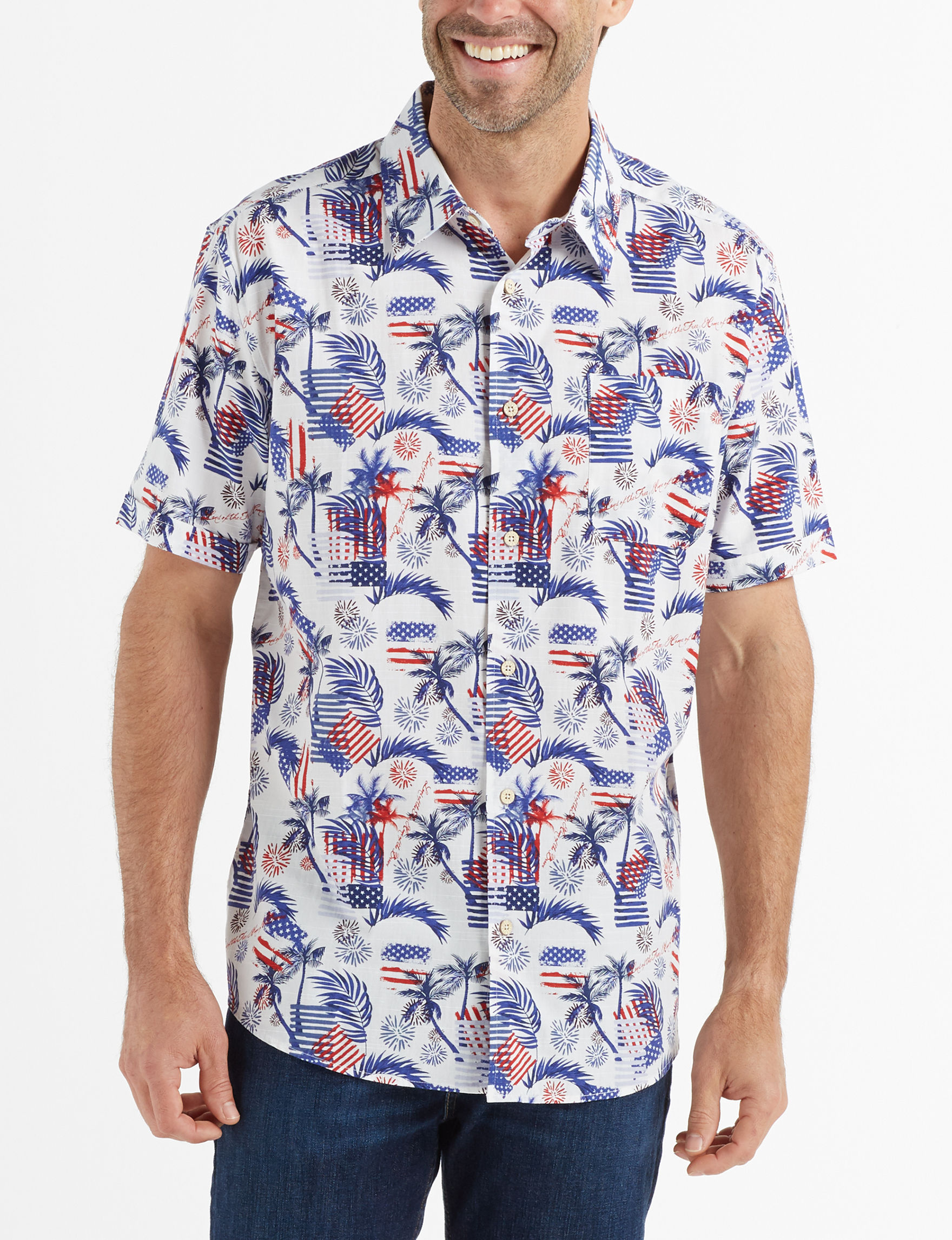 Tricots St. Raphael White / Multi Casual Button Down Shirts