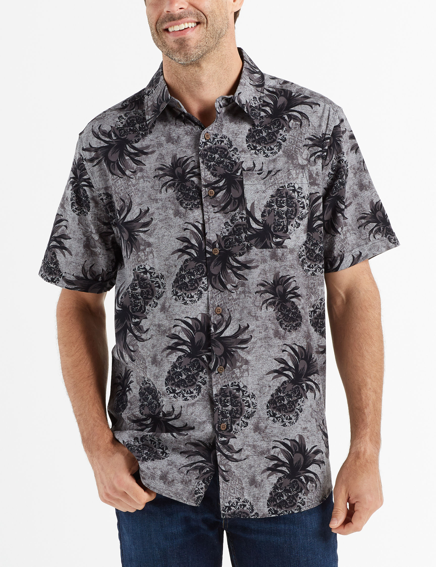 Tricots St. Raphael Charcoal / Black Casual Button Down Shirts