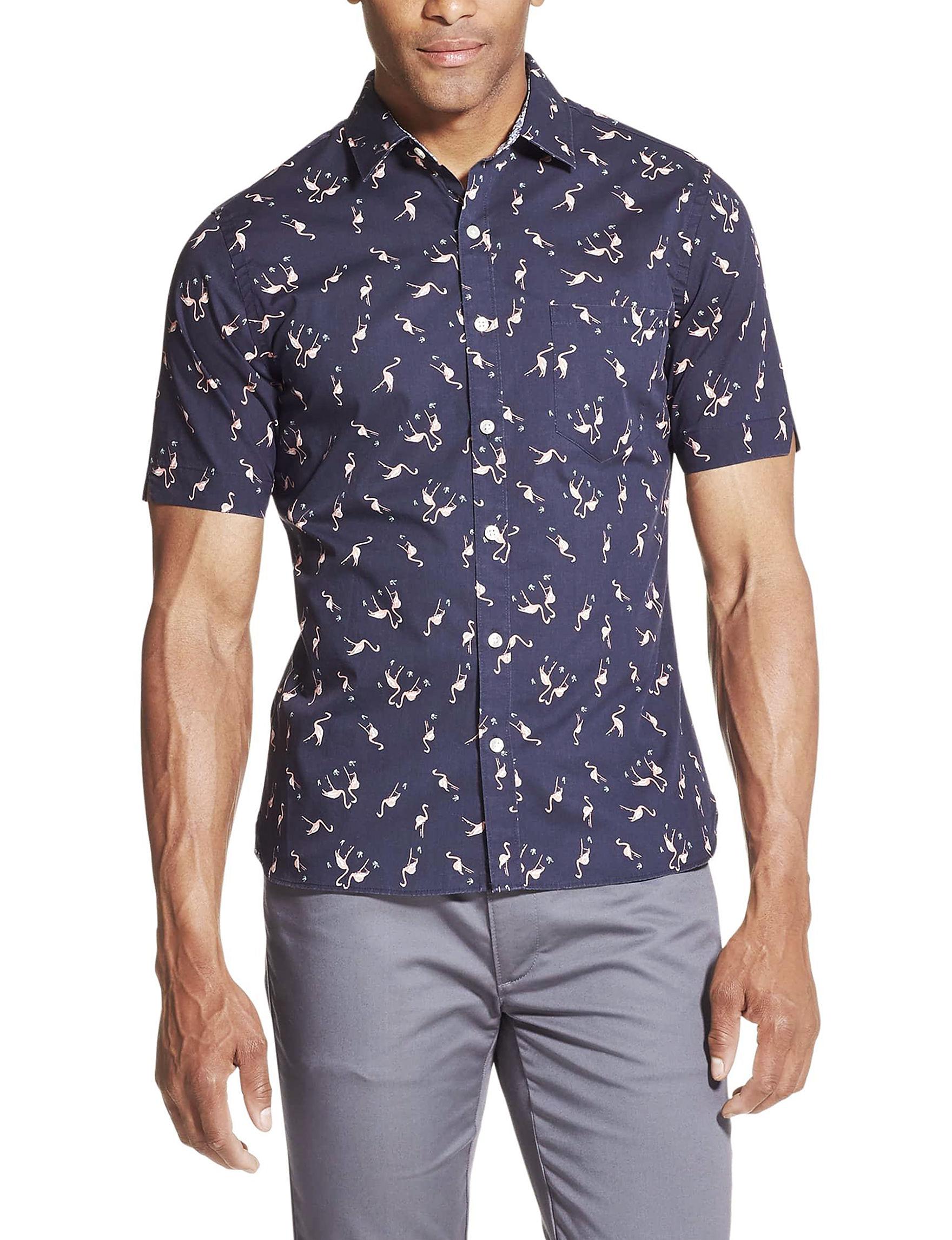 Van Heusen Sea Navy Casual Button Down Shirts