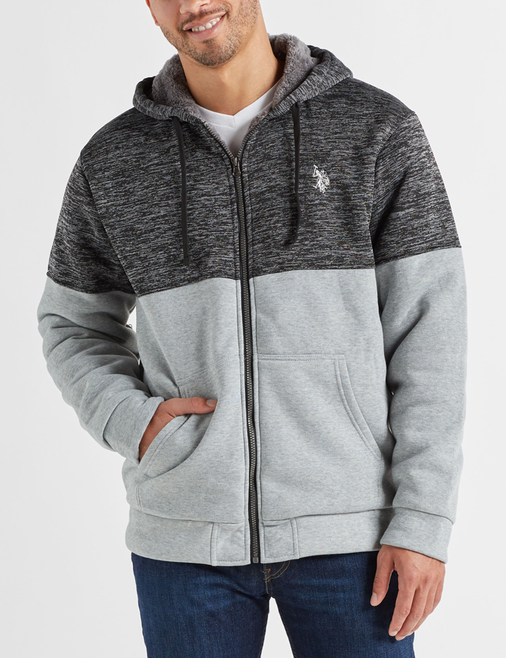 U.S. Polo Assn. Grey Fleece & Soft Shell Jackets