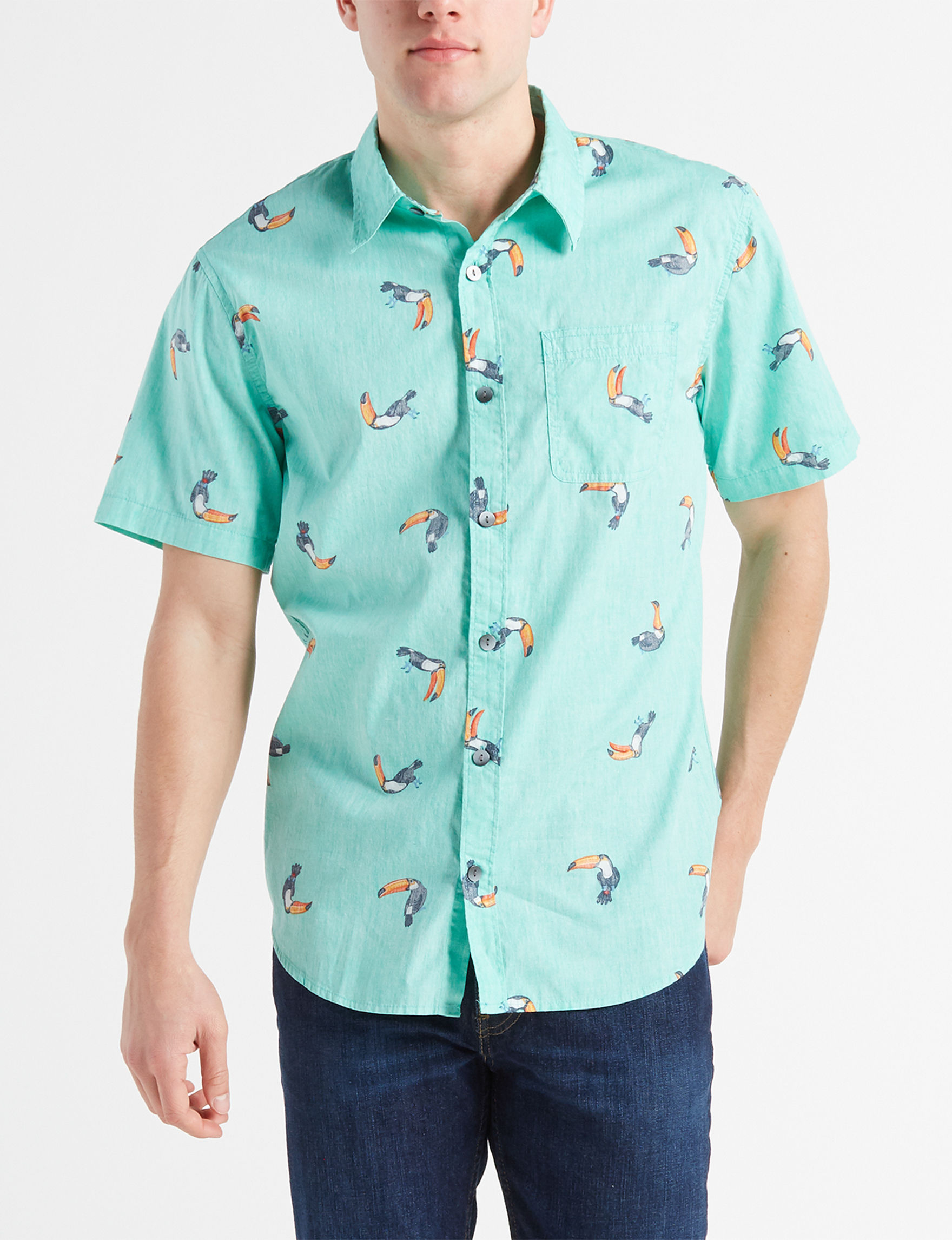 Ocean Current Mint Casual Button Down Shirts