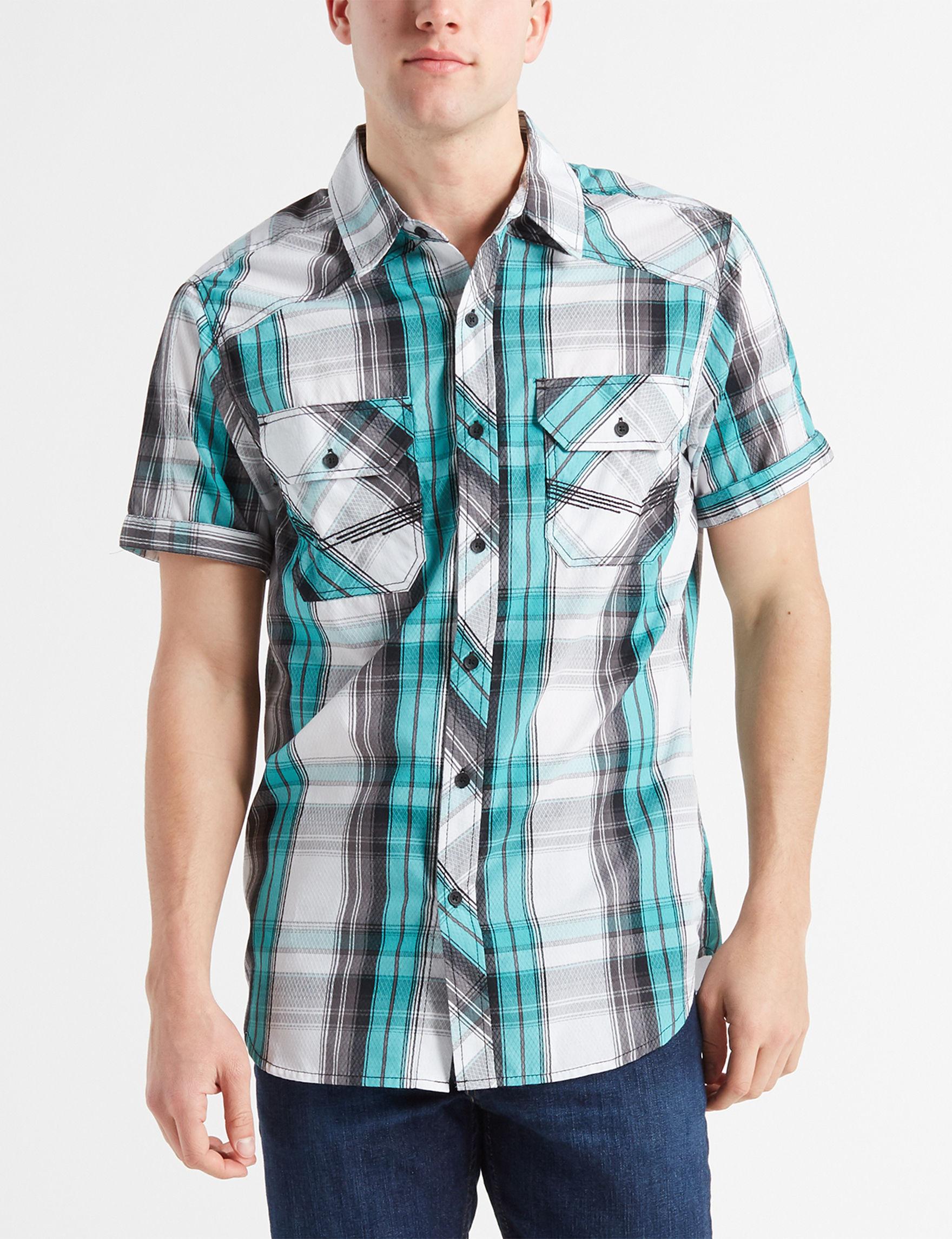 Surplus Teal Plaid Casual Button Down Shirts