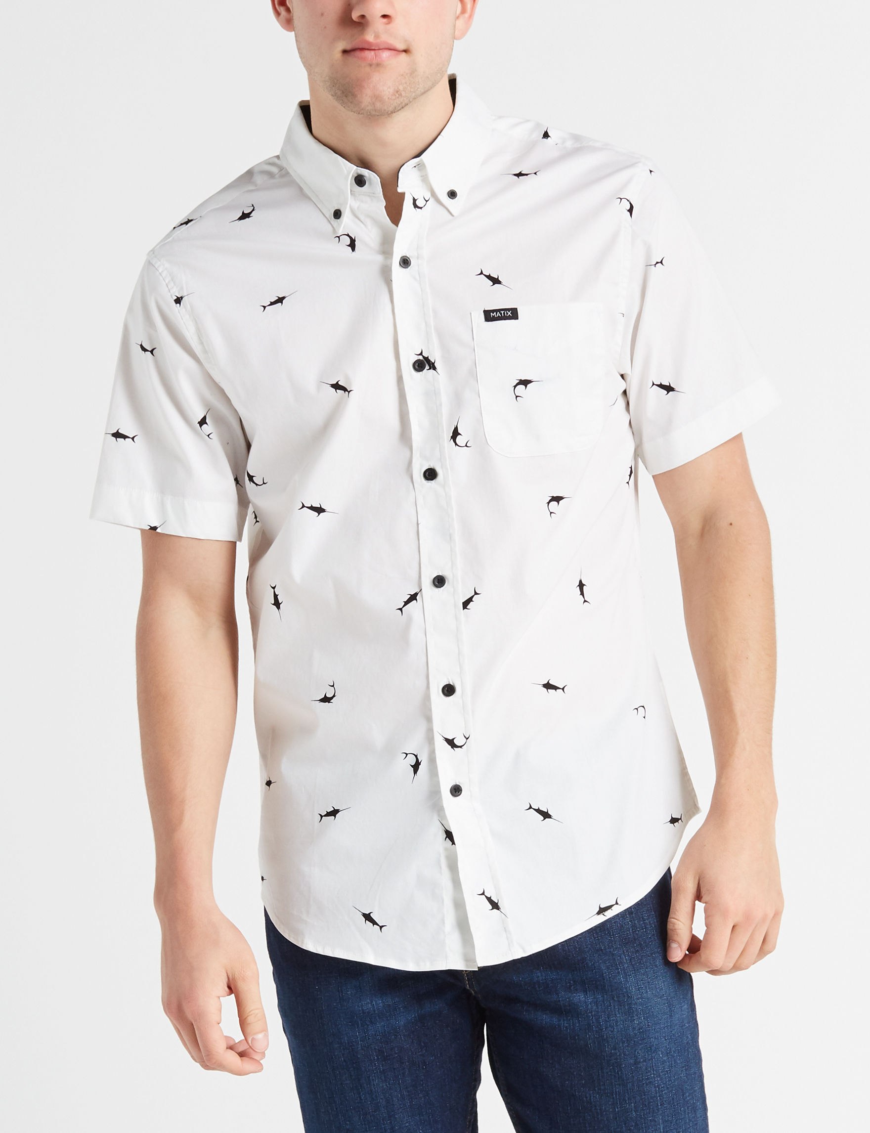 Surplus White Casual Button Down Shirts