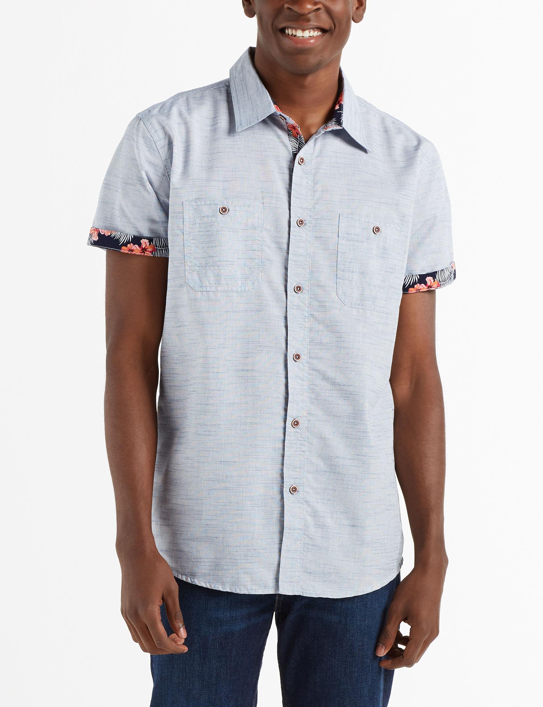 Modern Culture Blue Casual Button Down Shirts