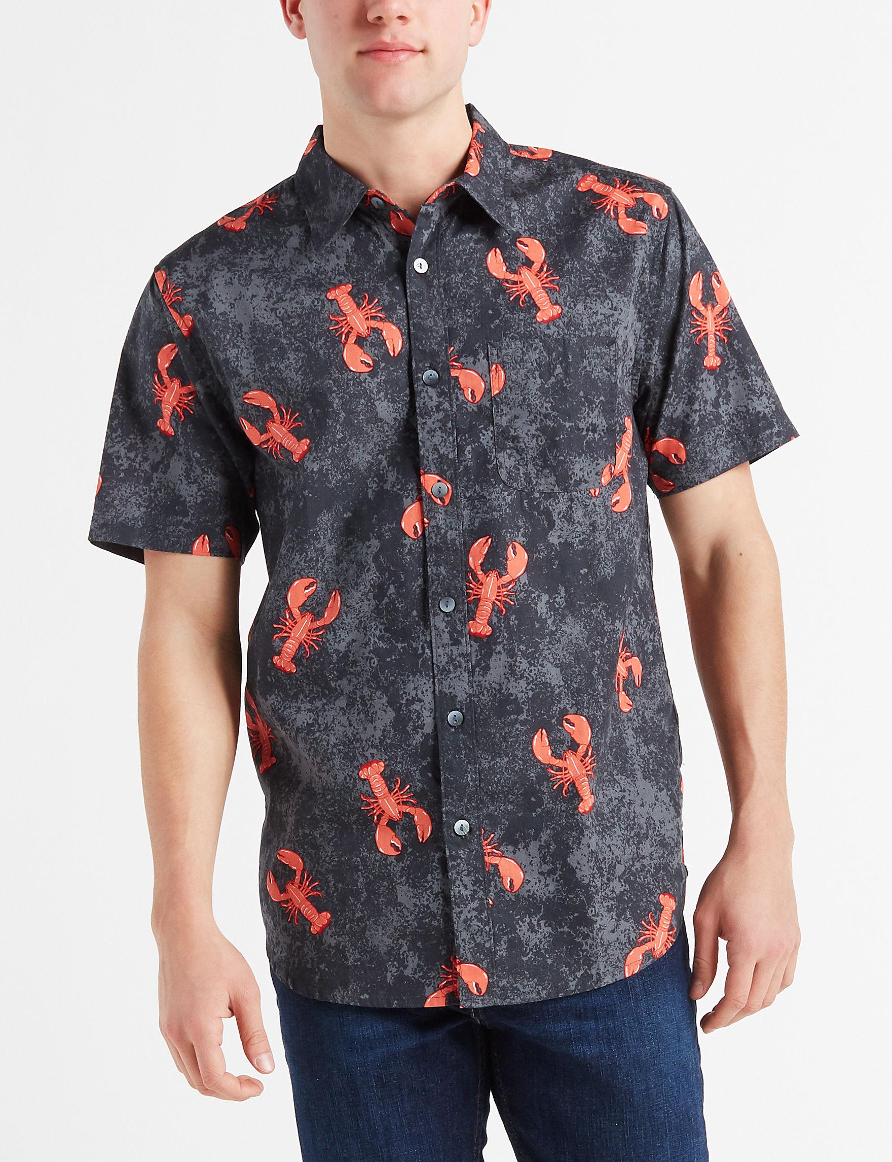 Ocean Current Dark Grey Casual Button Down Shirts