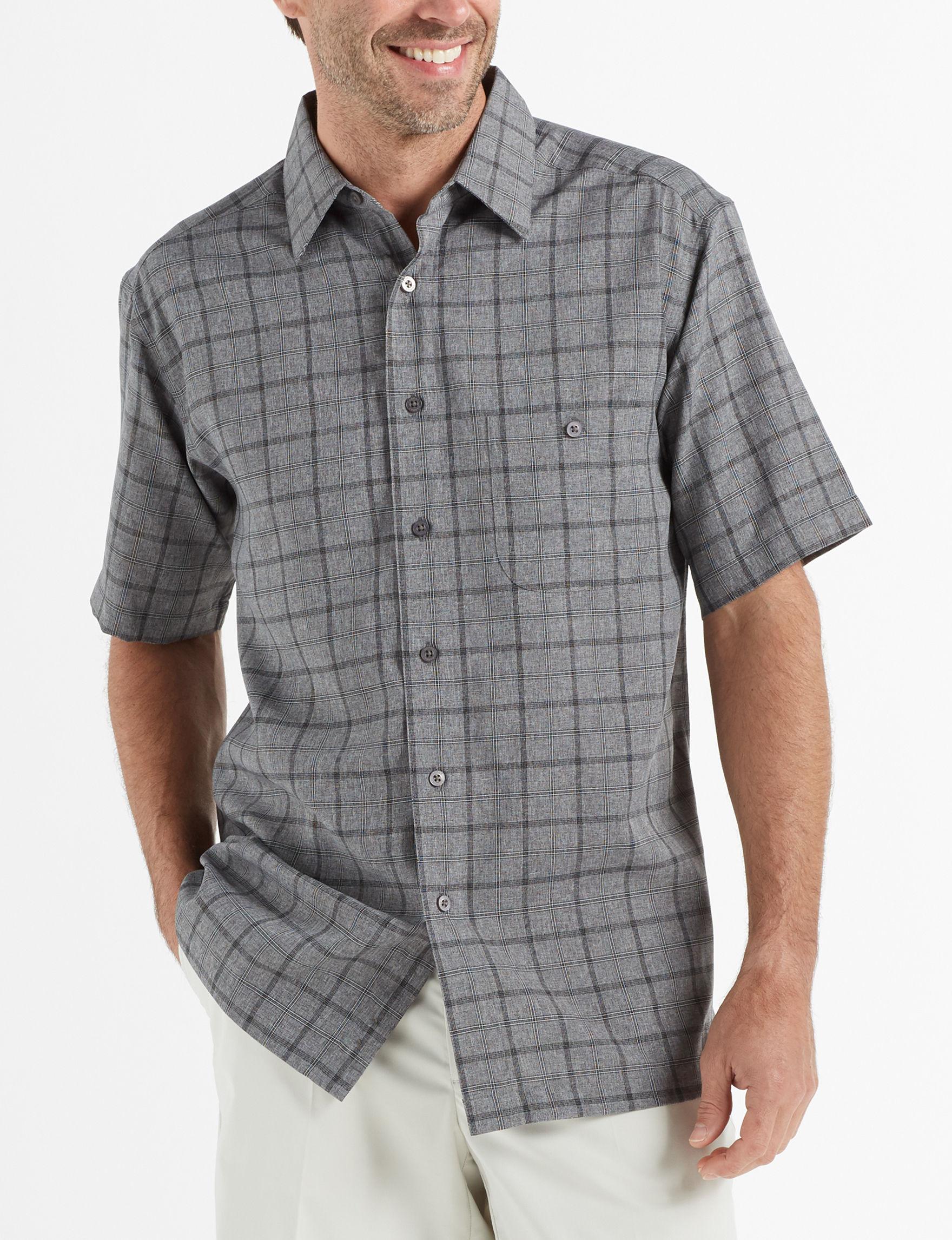 Haggar Black / Multi Casual Button Down Shirts