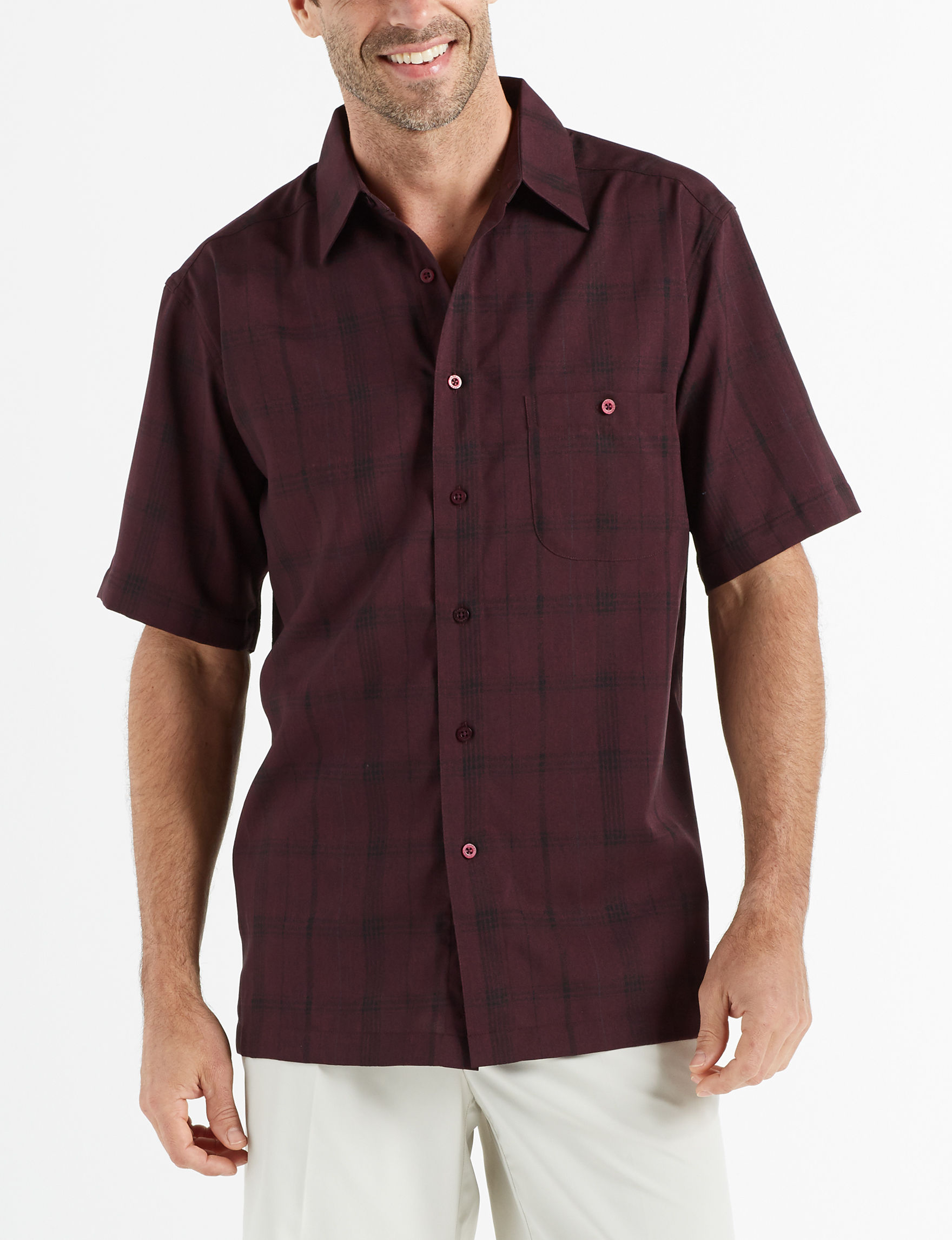 Haggar Burgundy Multi Casual Button Down Shirts