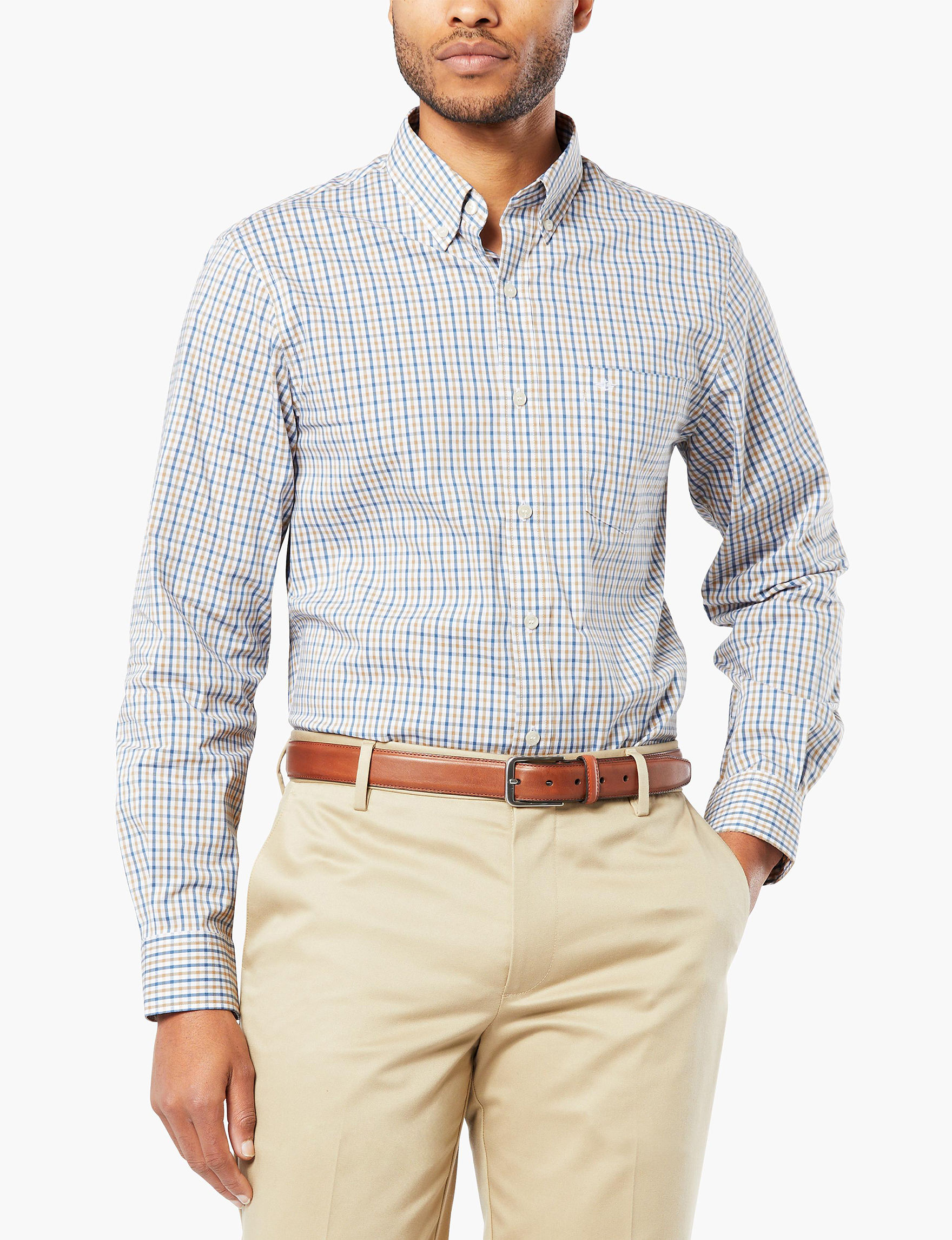 Dockers White Casual Button Down Shirts