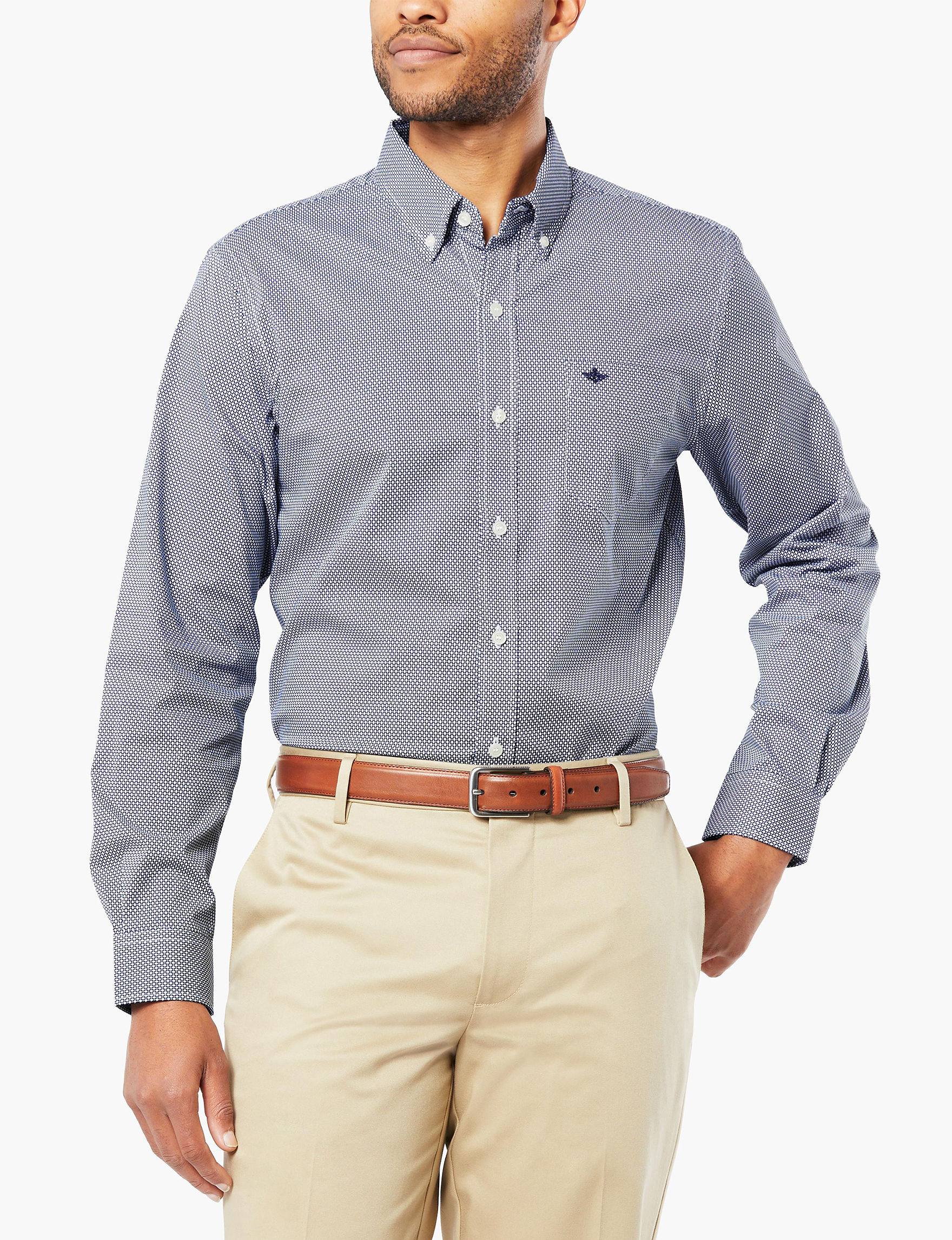 Dockers Ocean Blue Casual Button Down Shirts