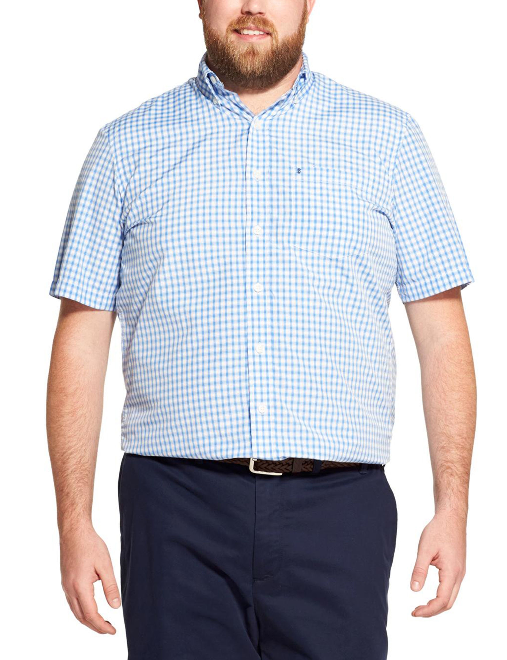 Izod Blue / Multi Casual Button Down Shirts