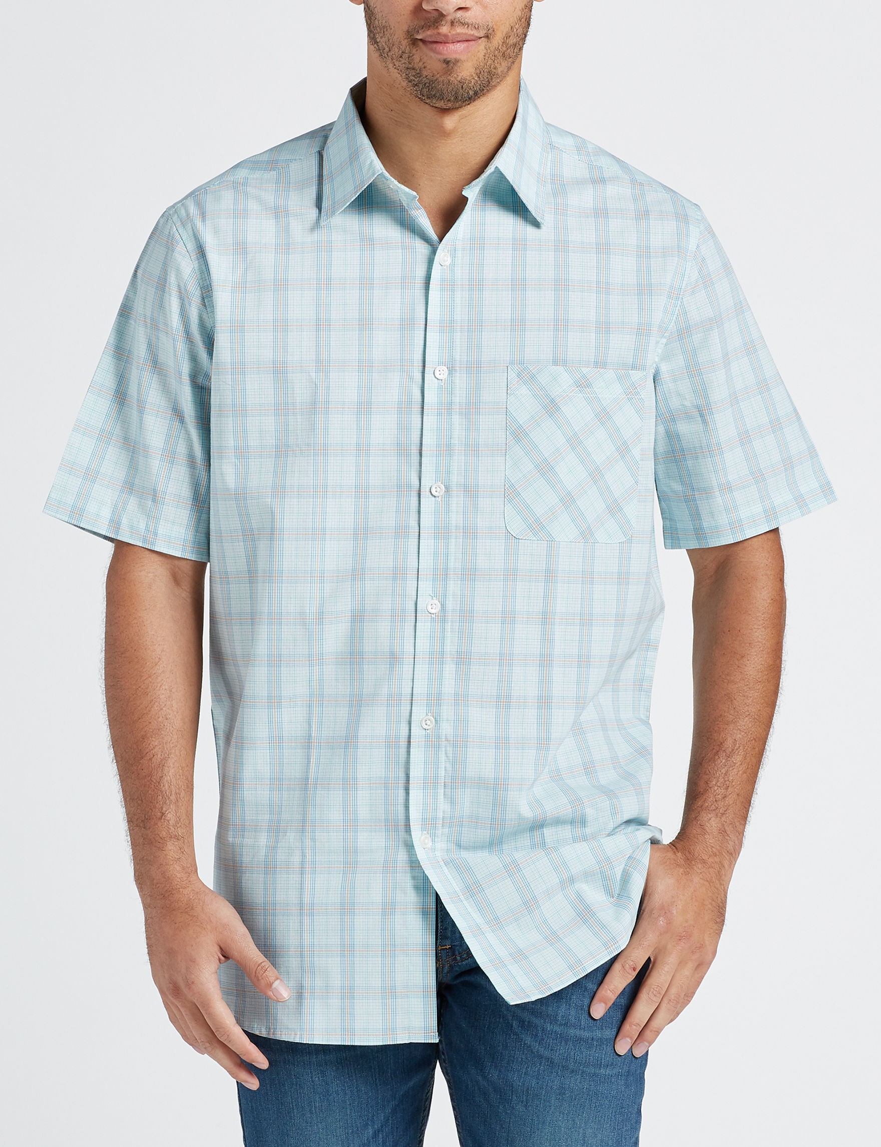 Sun River Blue / Plaid Casual Button Down Shirts