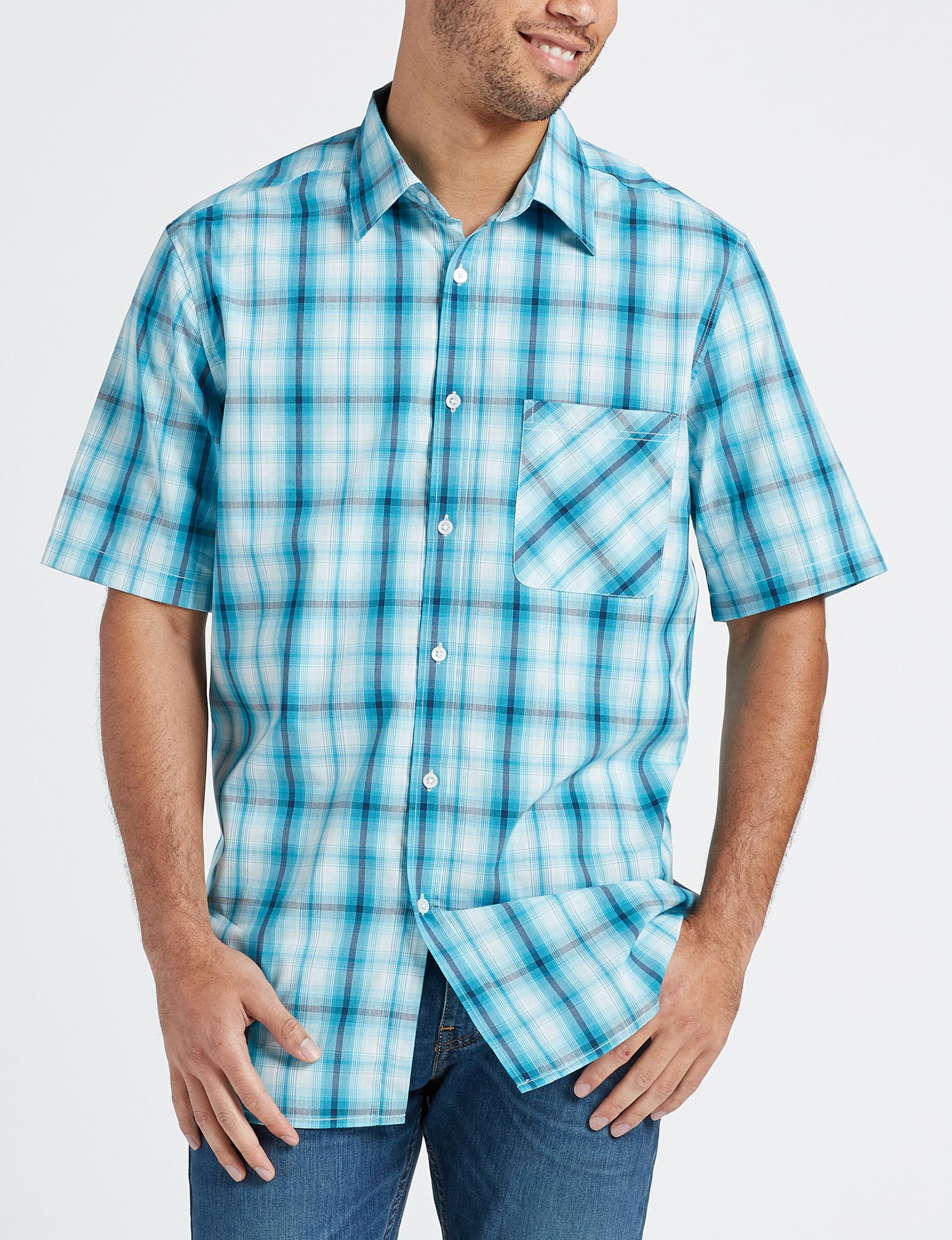 Sun River Green Plaid Casual Button Down Shirts