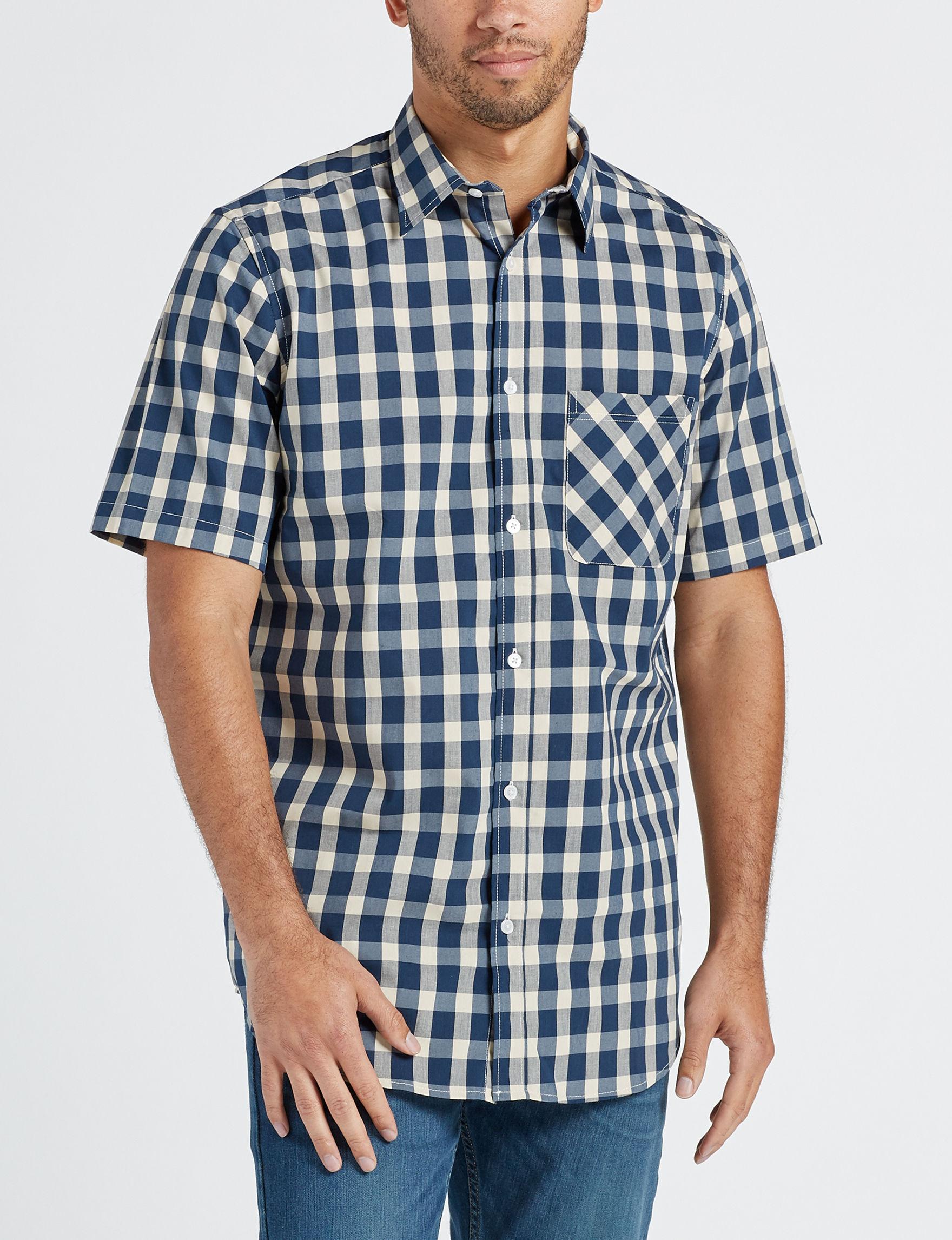 Sun River Blue / Plaid Casual Button Down Shirts