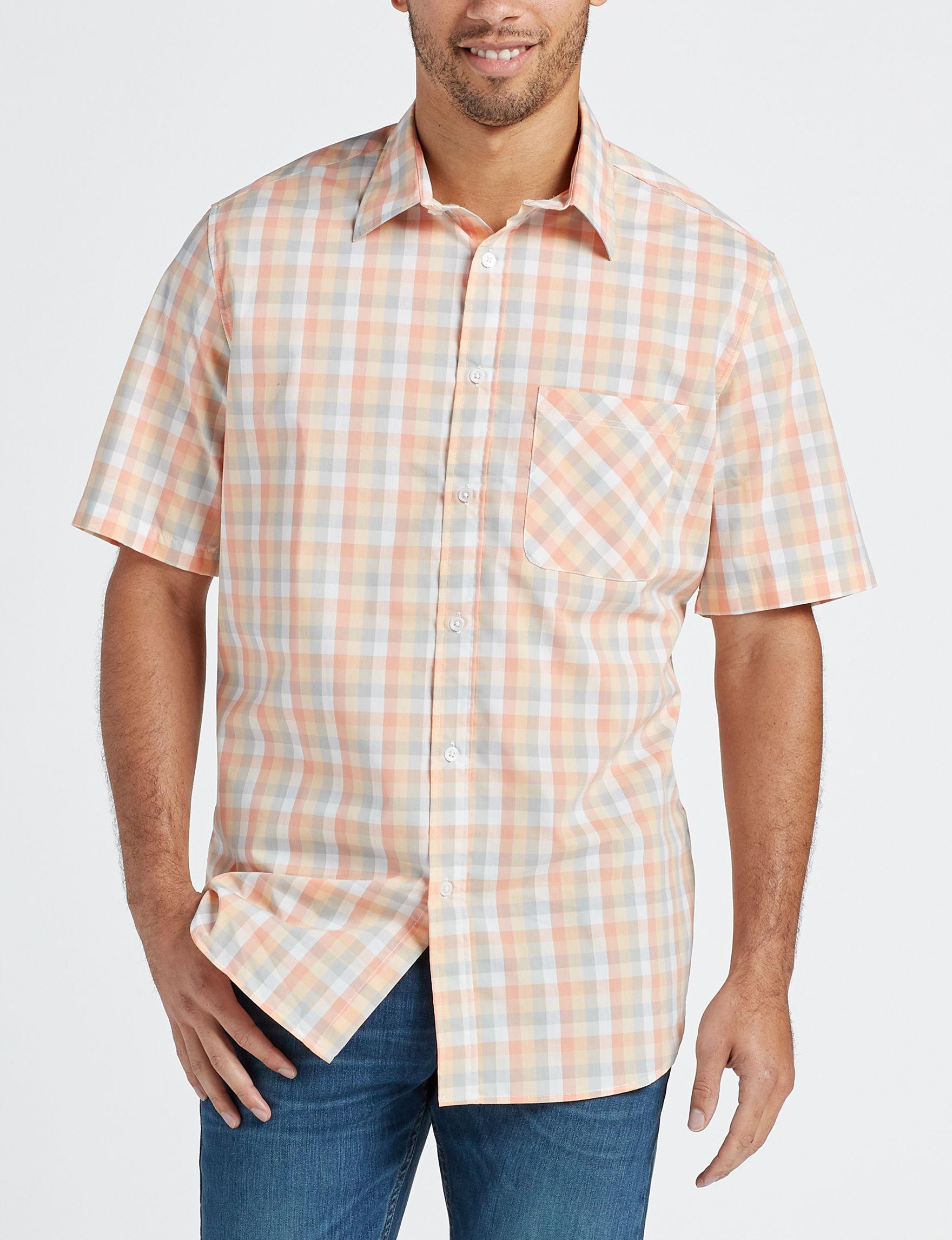 Sun River Orange / Multi Casual Button Down Shirts
