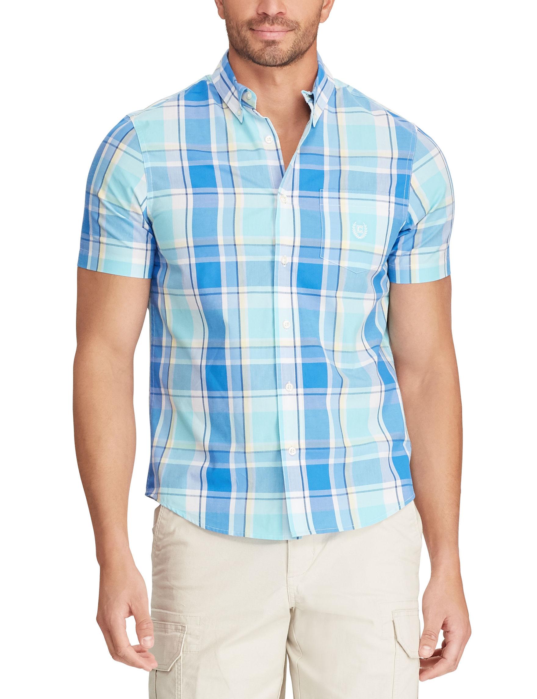 Chaps Blue / Plaid Casual Button Down Shirts
