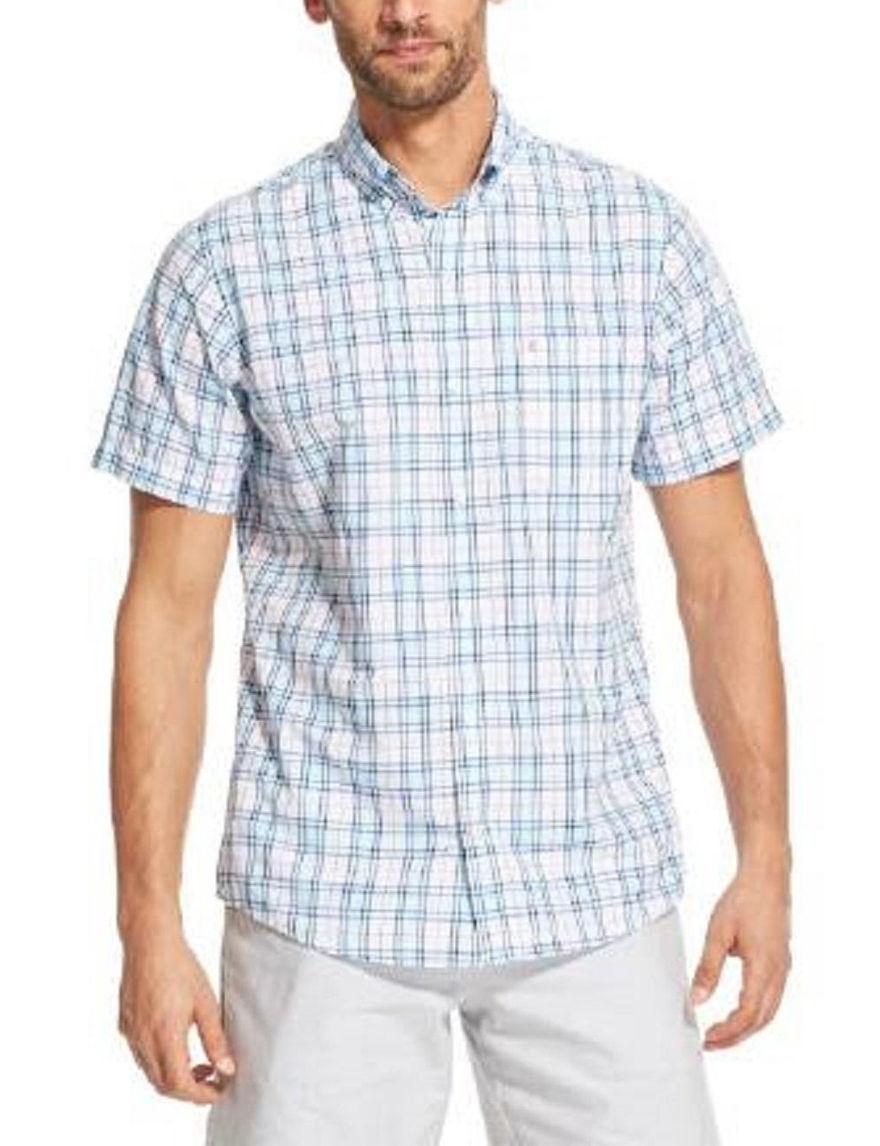 Izod Blue / Multi Casual Button Down Shirts