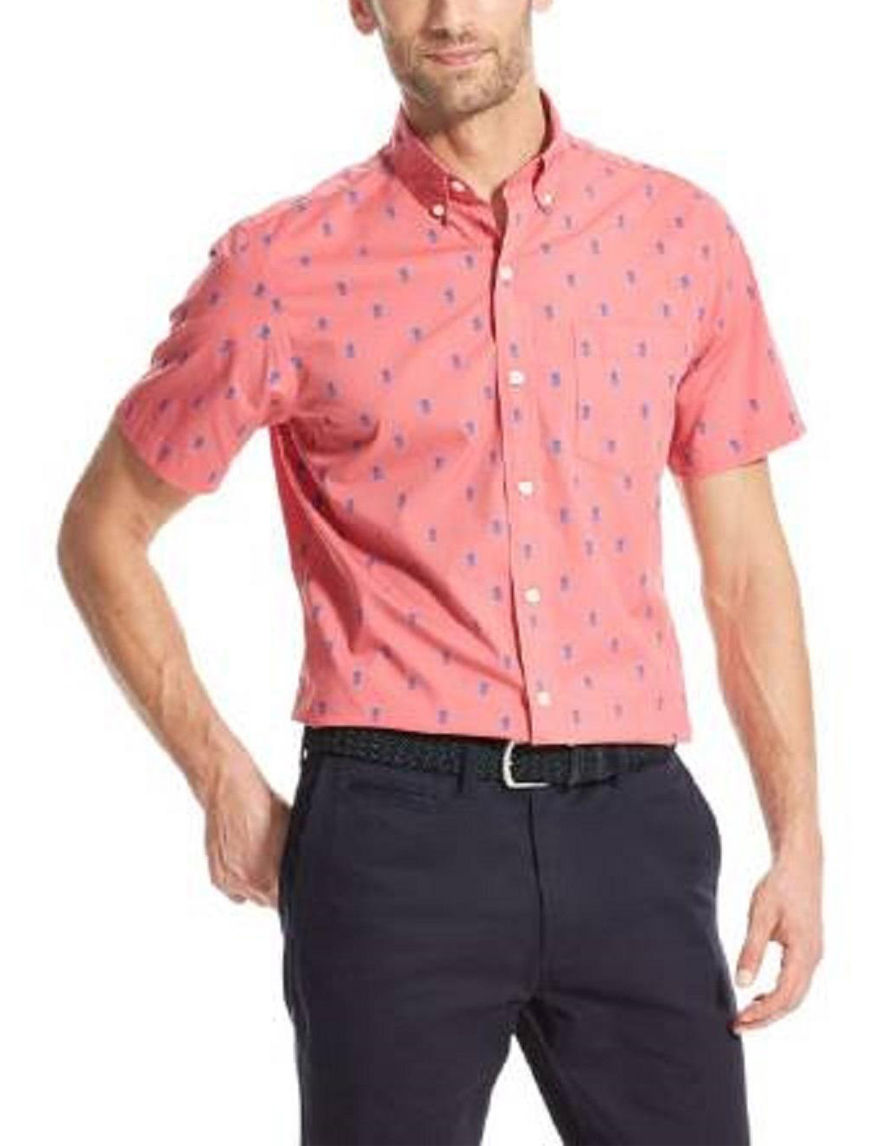 Izod Pink / Blue Casual Button Down Shirts