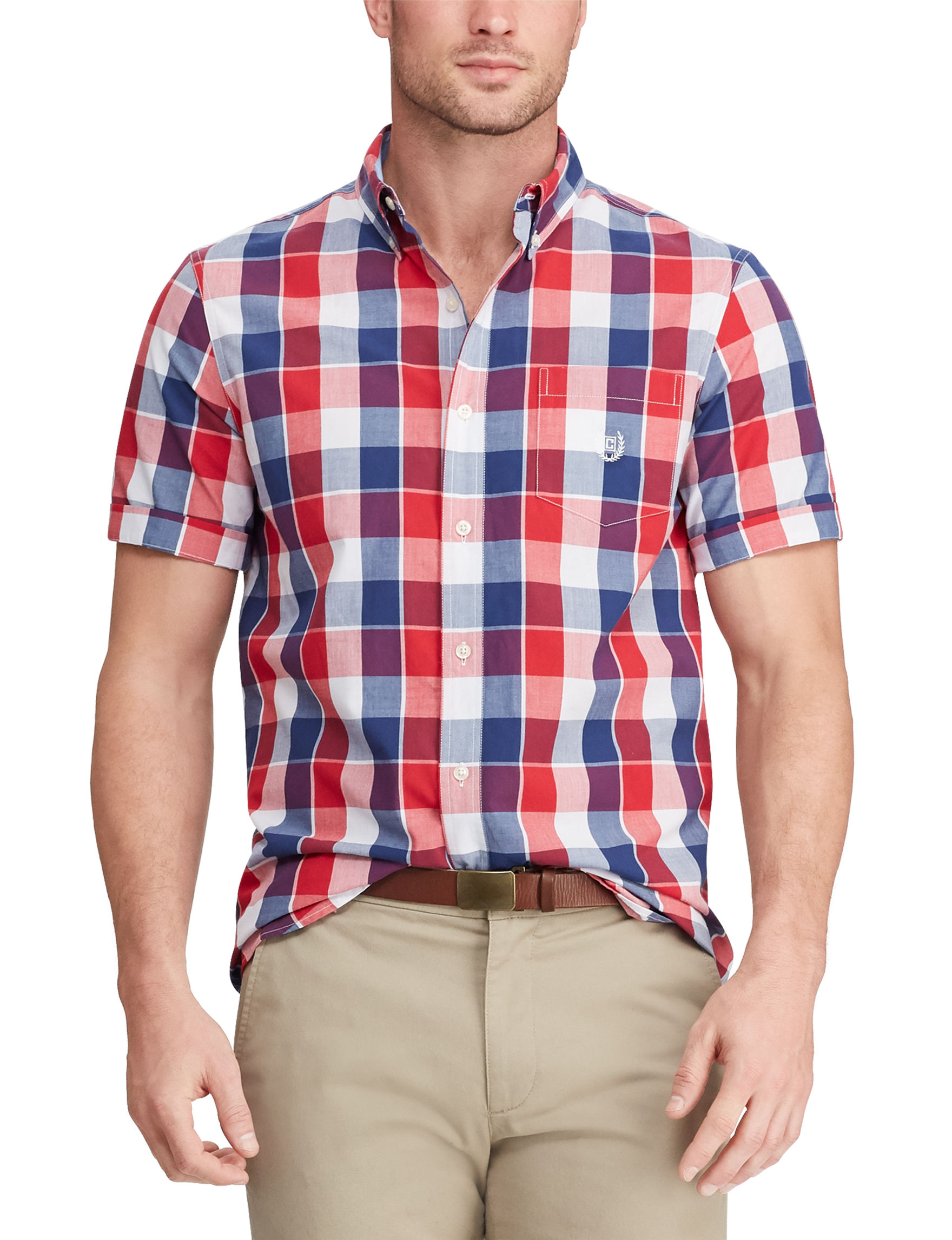 Chaps Red Plaid Casual Button Down Shirts