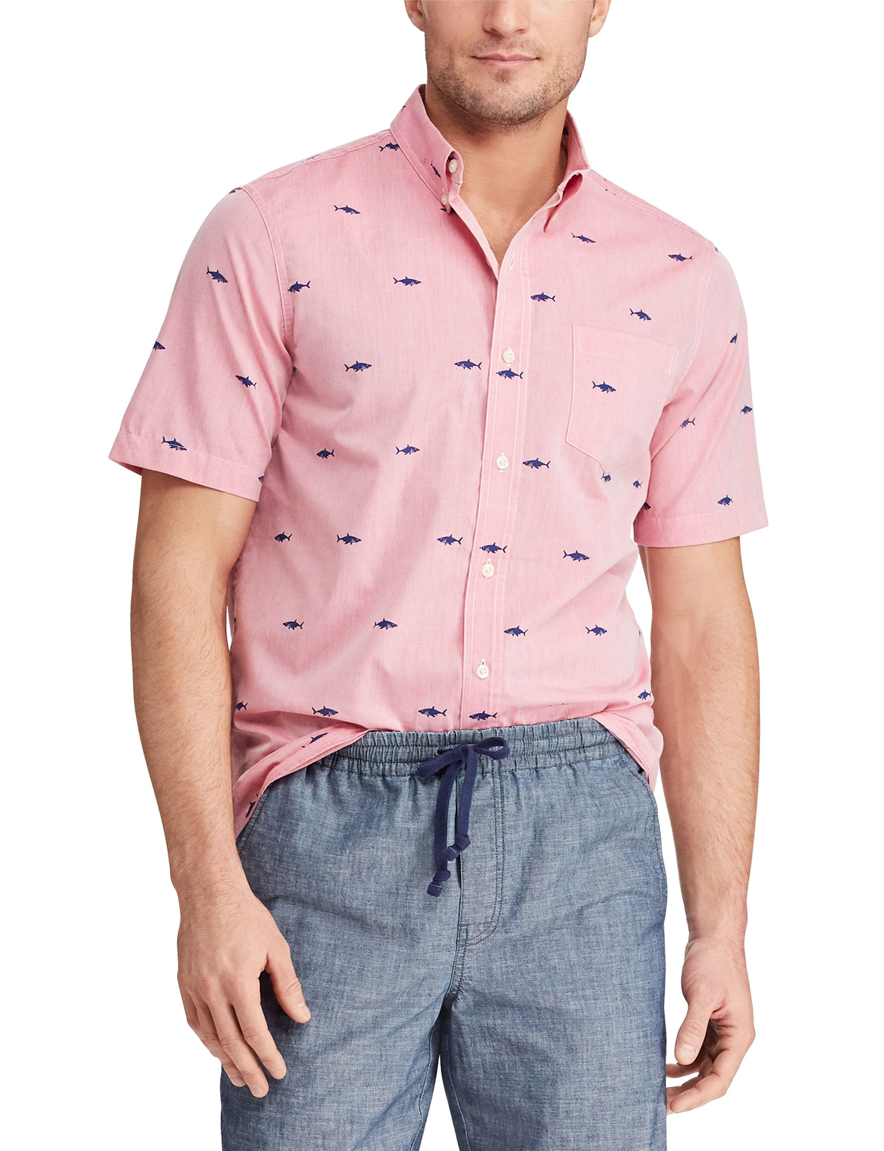 Chaps Pink / Multi Casual Button Down Shirts