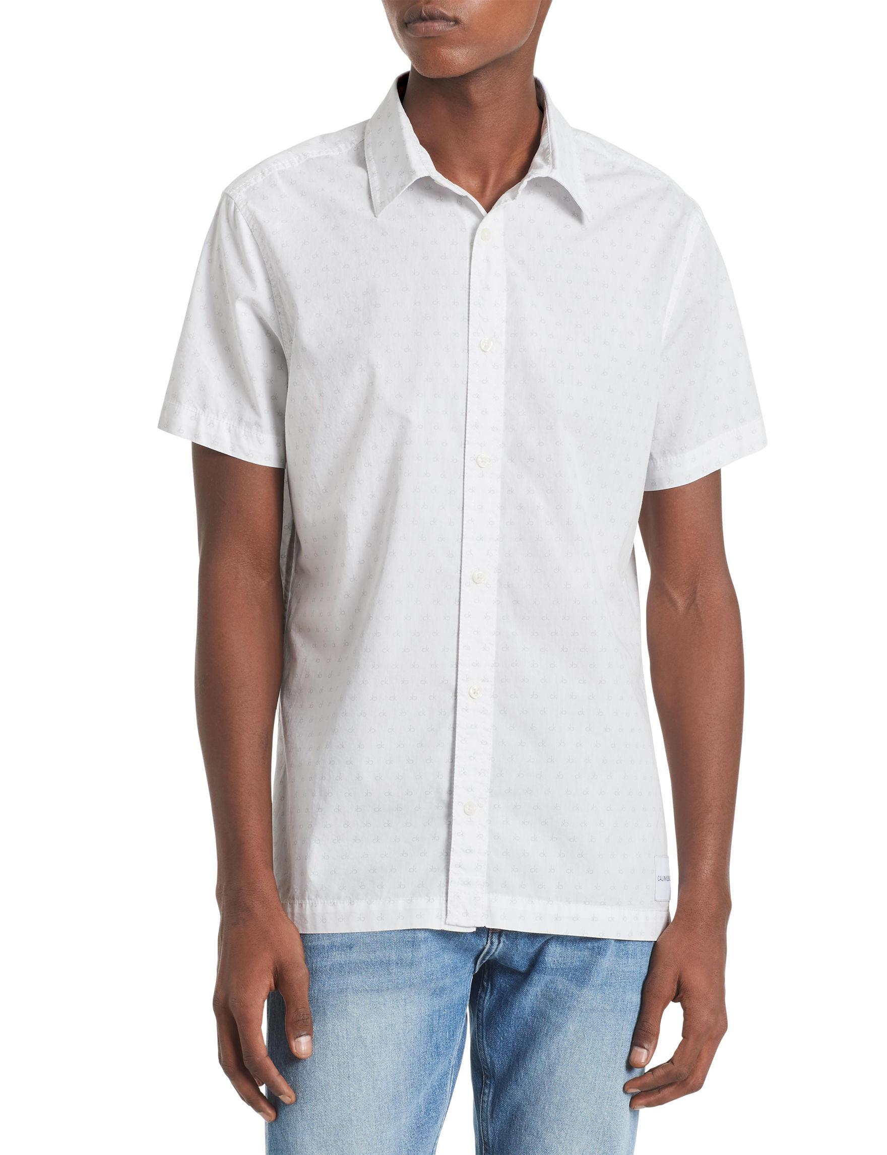 Calvin Klein White Casual Button Down Shirts