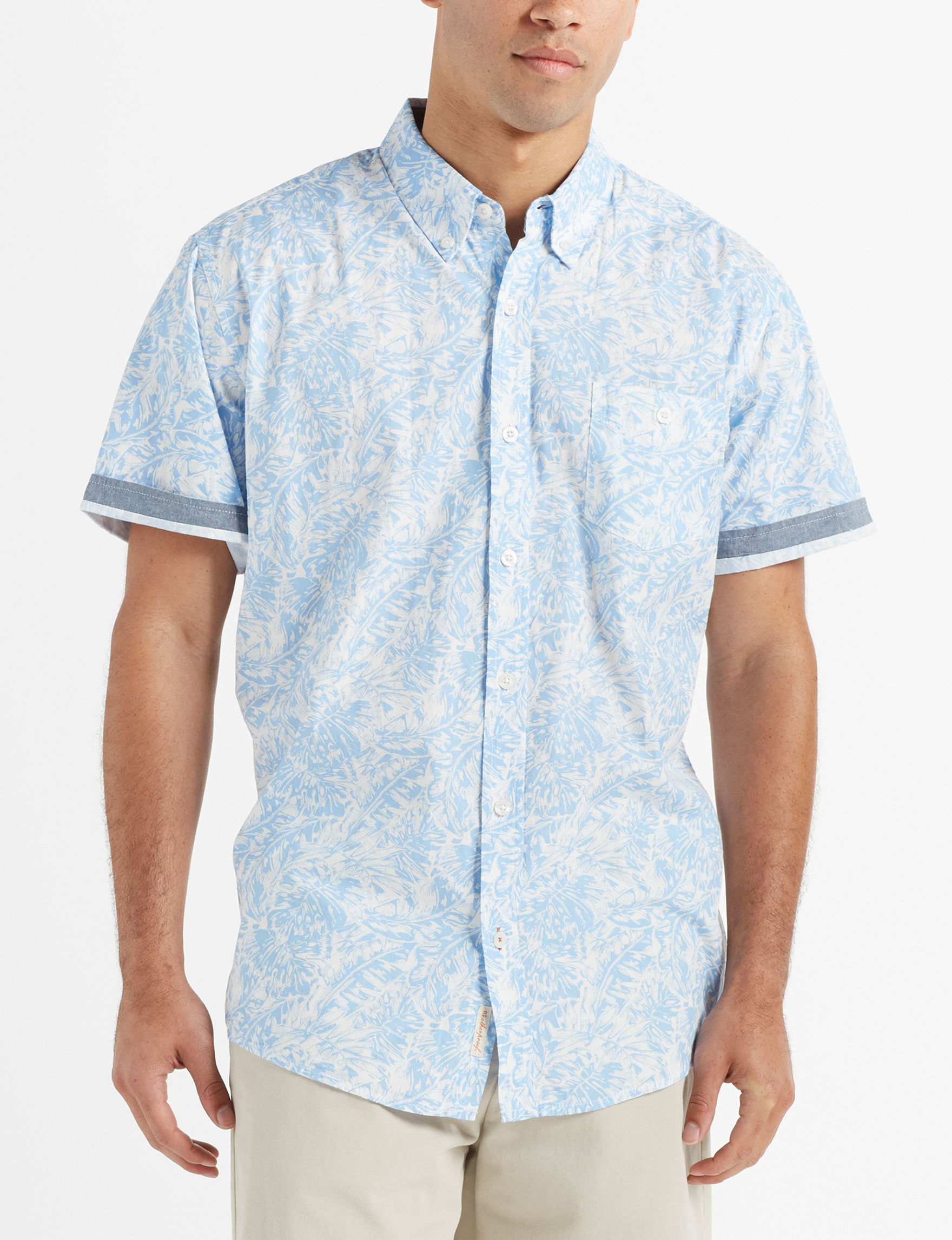Weatherproof White / Blue Casual Button Down Shirts