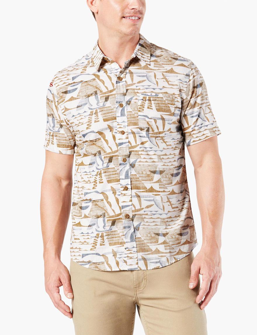 Dockers Egret Casual Button Down Shirts