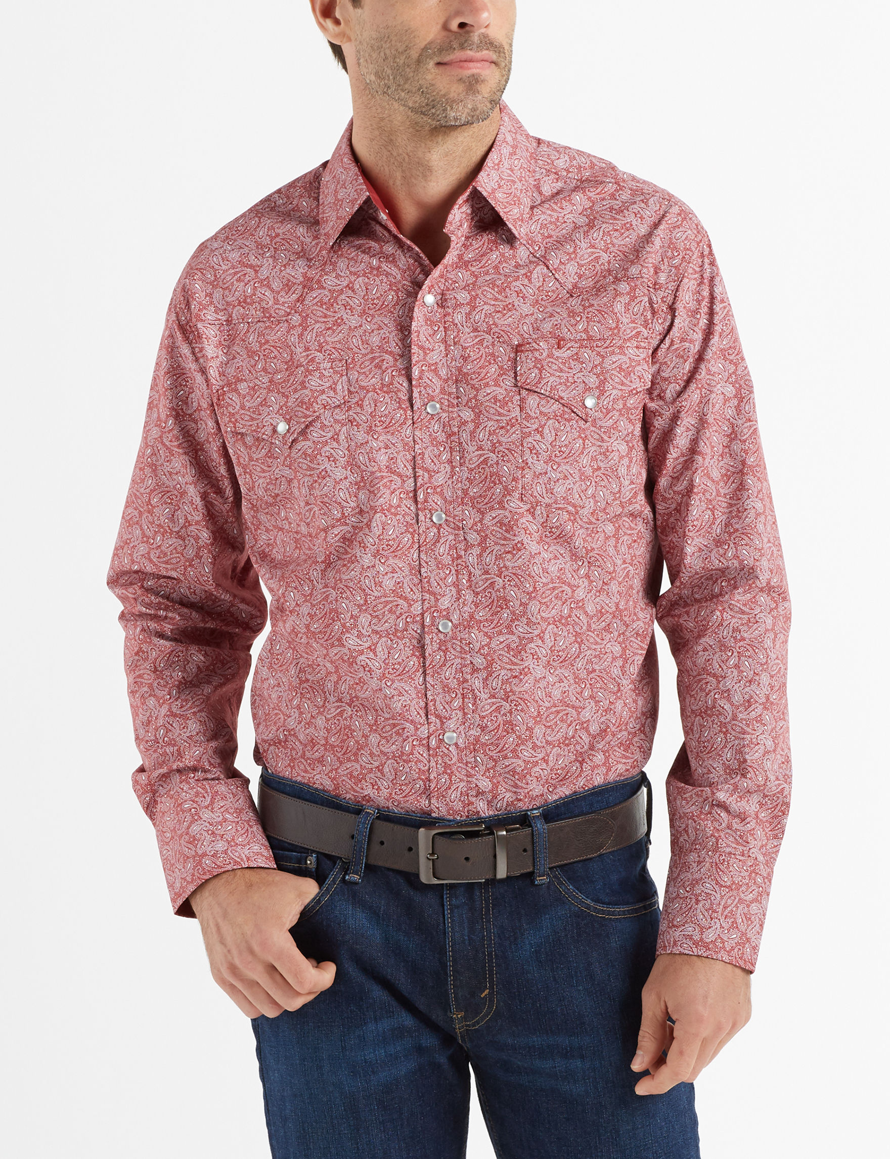 Ely Cattleman Burgundy Multi Casual Button Down Shirts