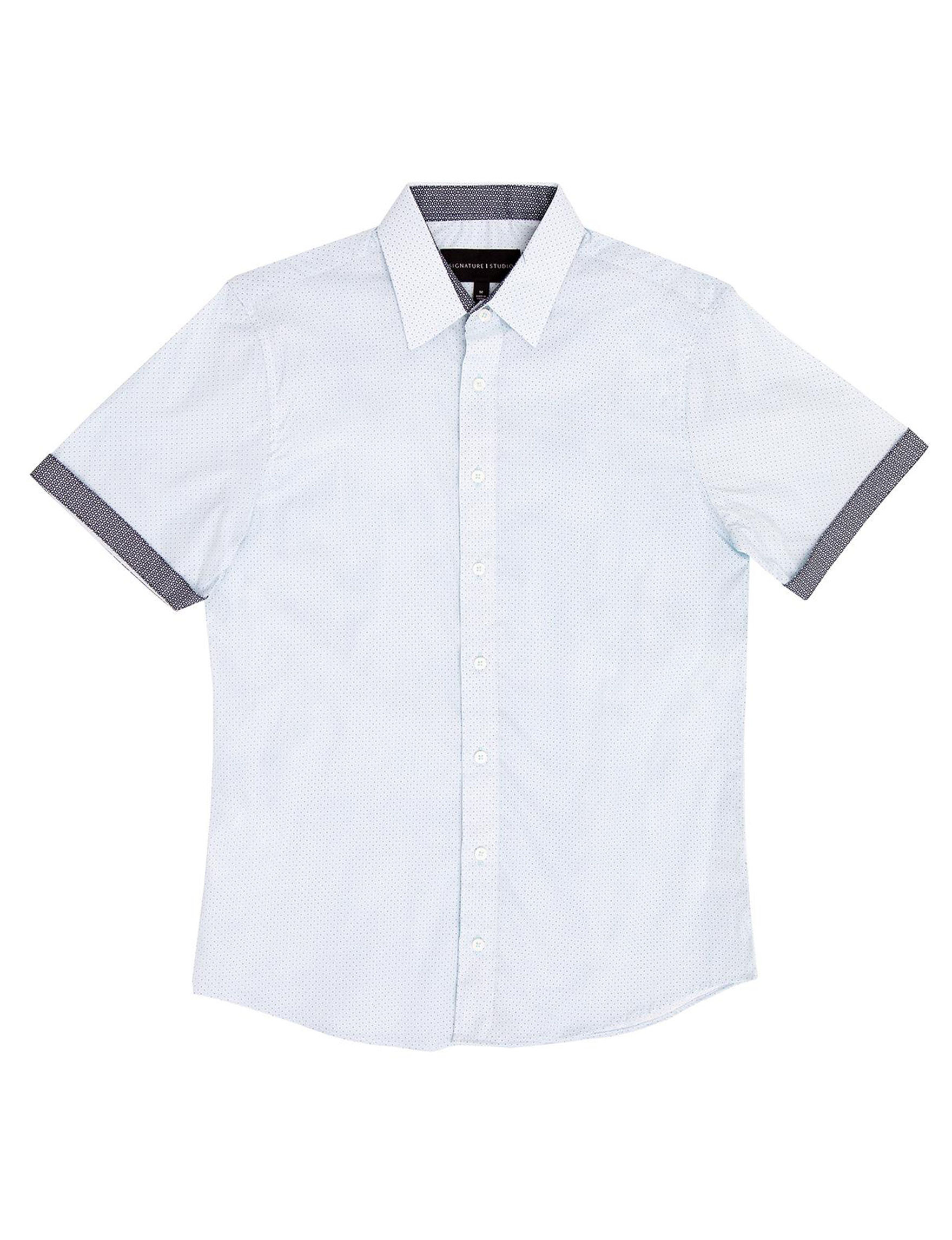 Signature Studio White / Navy Casual Button Down Shirts