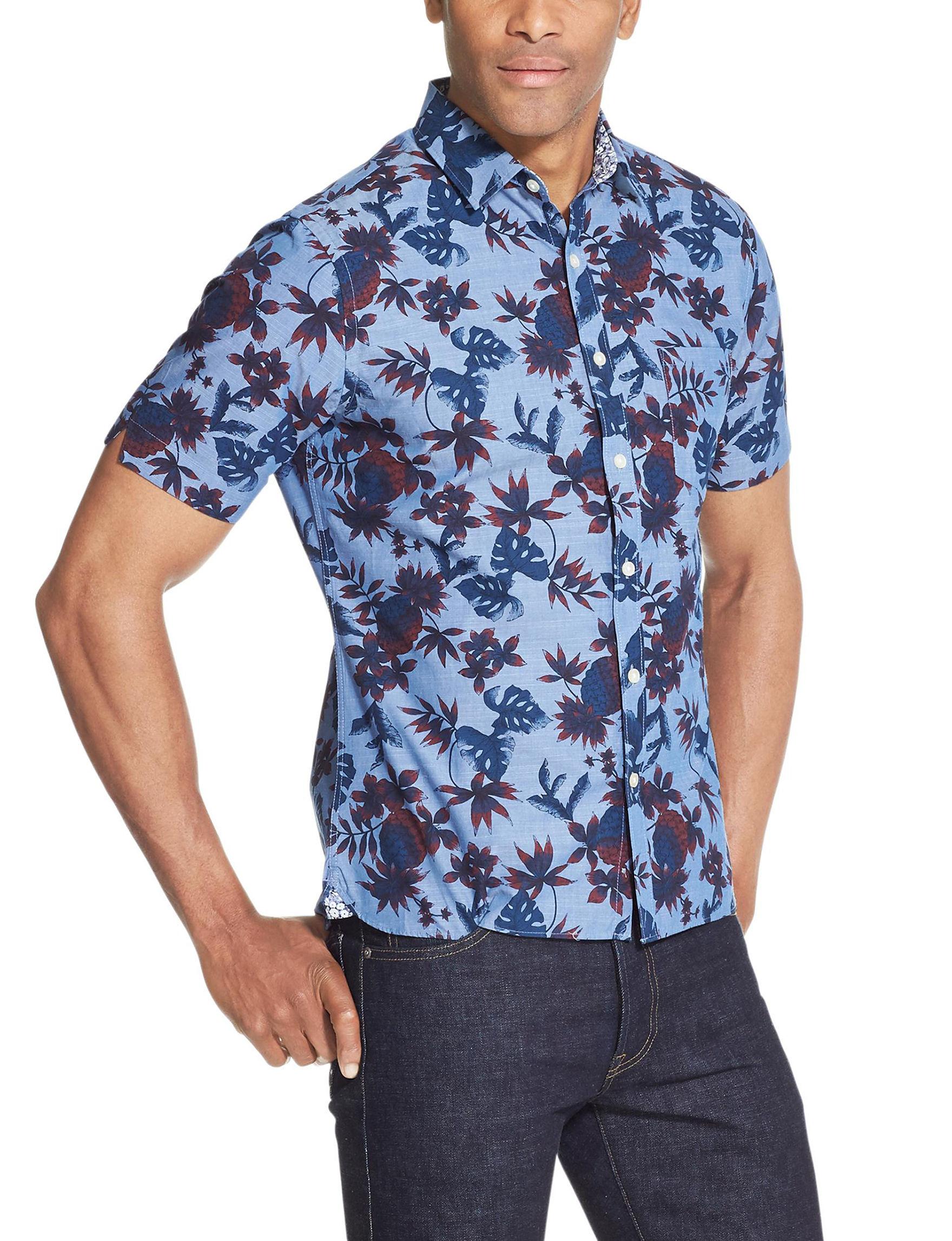 Van Heusen Dark Blue Casual Button Down Shirts