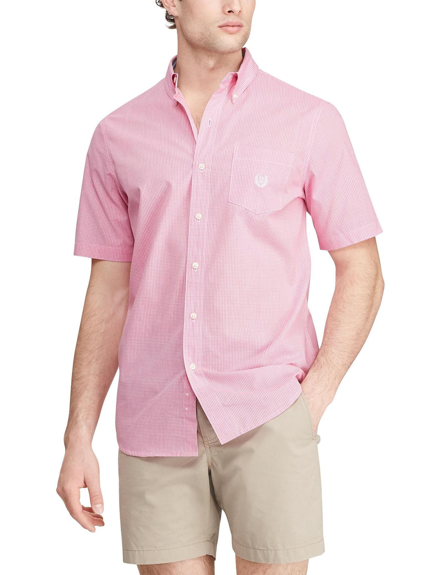 Chaps Baha Pink Casual Button Down Shirts