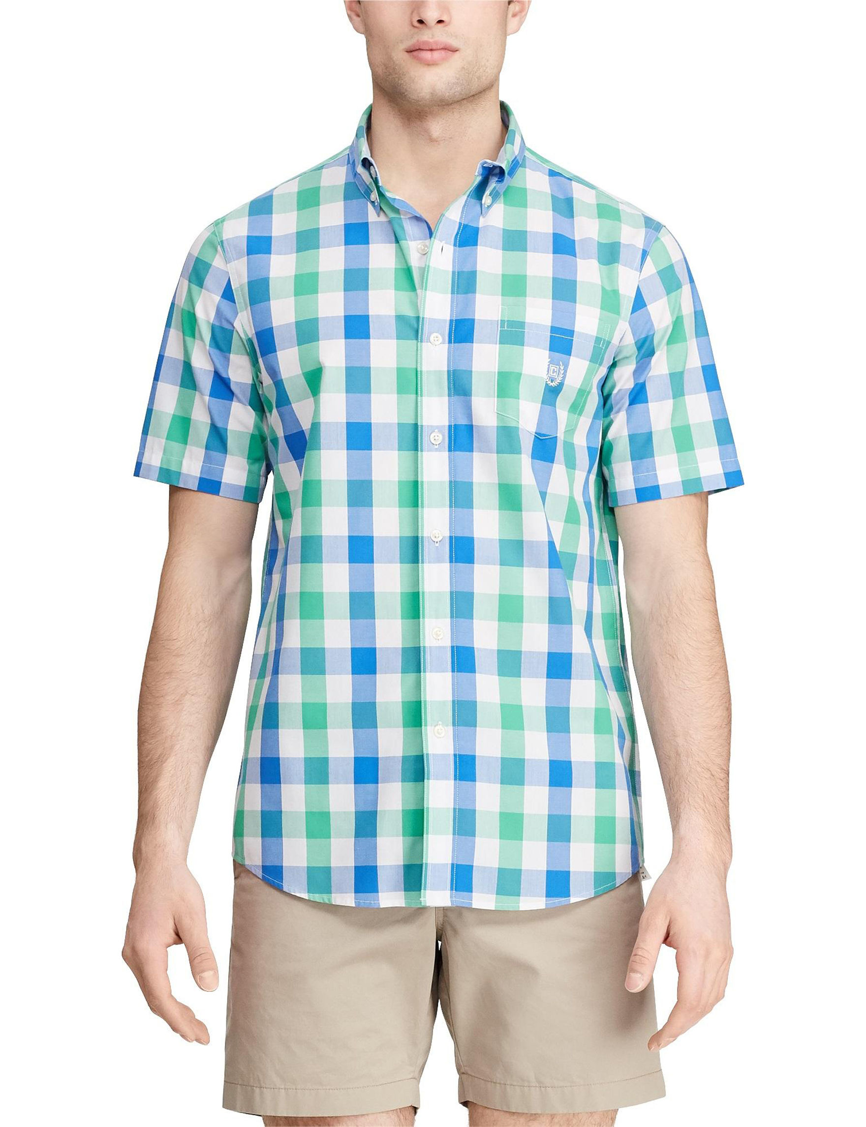 Chaps Plato Green Casual Button Down Shirts