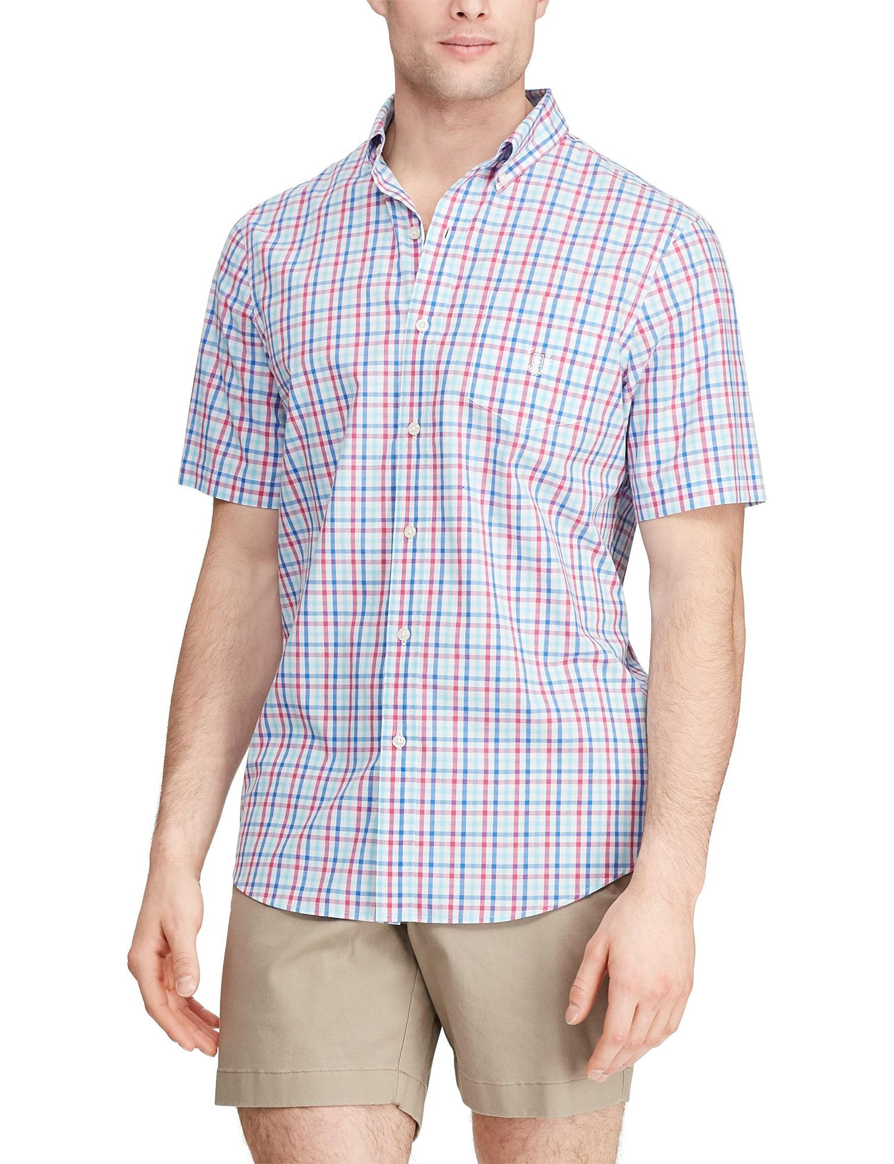 Chaps Active Pink Casual Button Down Shirts