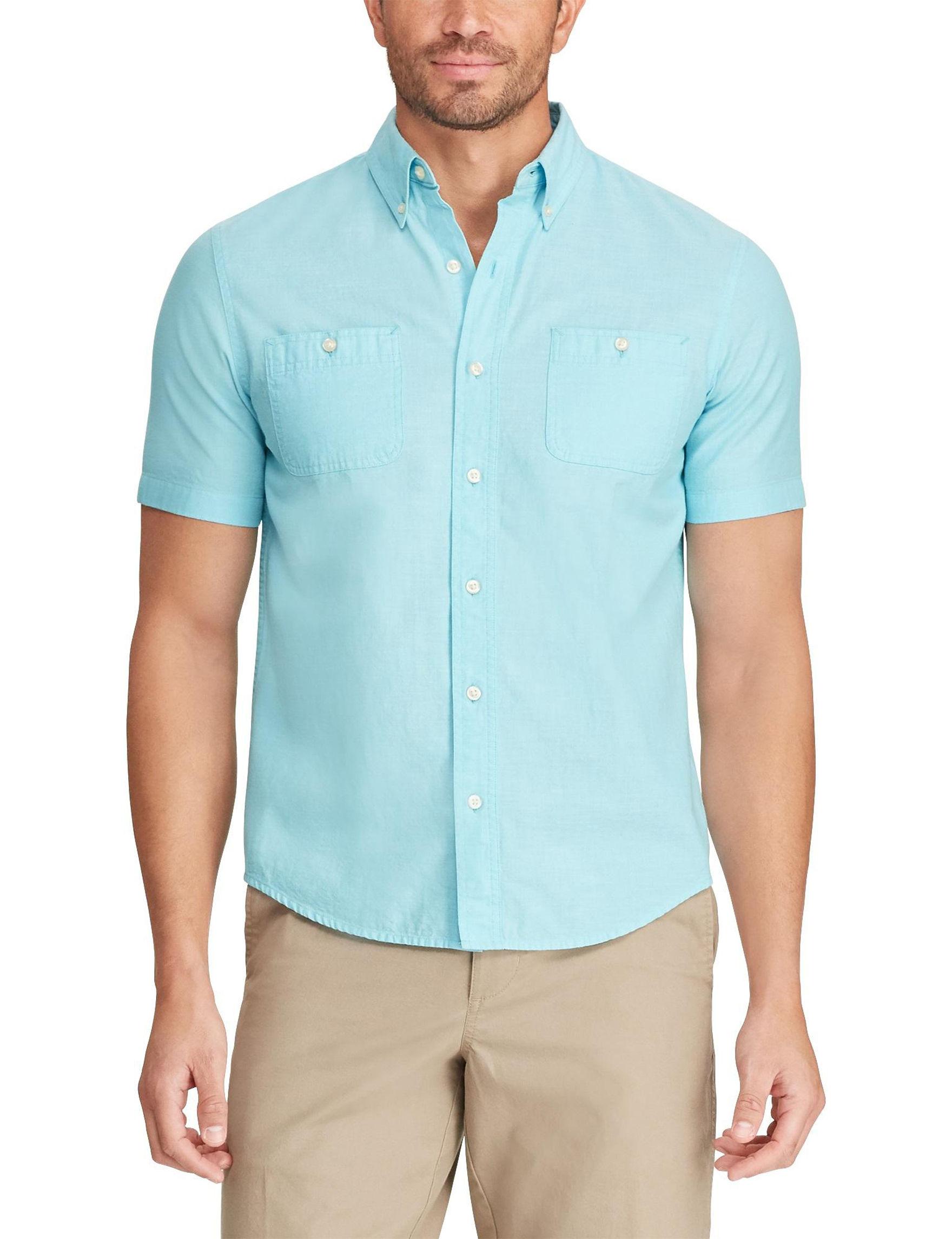 Chaps Hammond Blue Casual Button Down Shirts