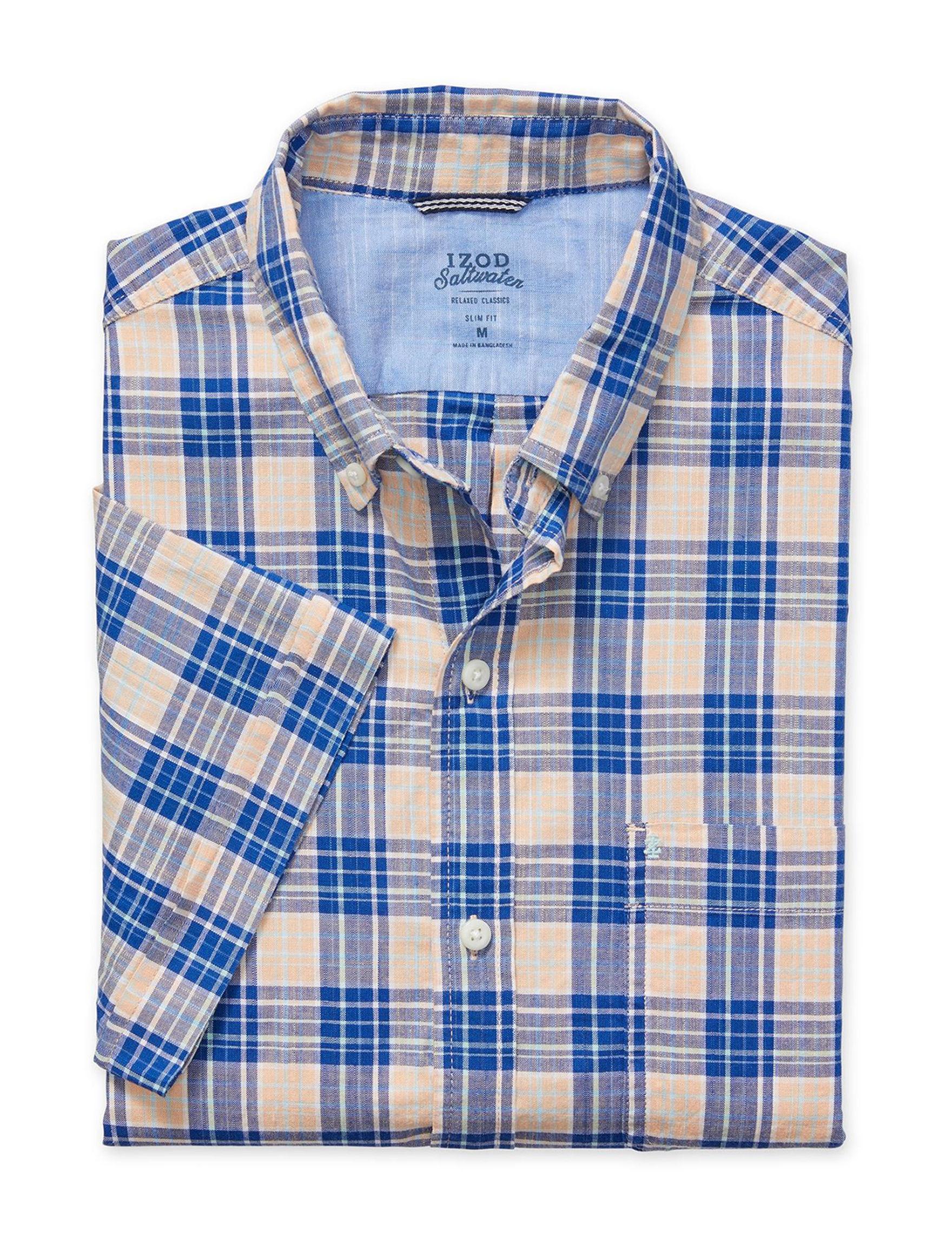 Izod Blue / Plaid Casual Button Down Shirts