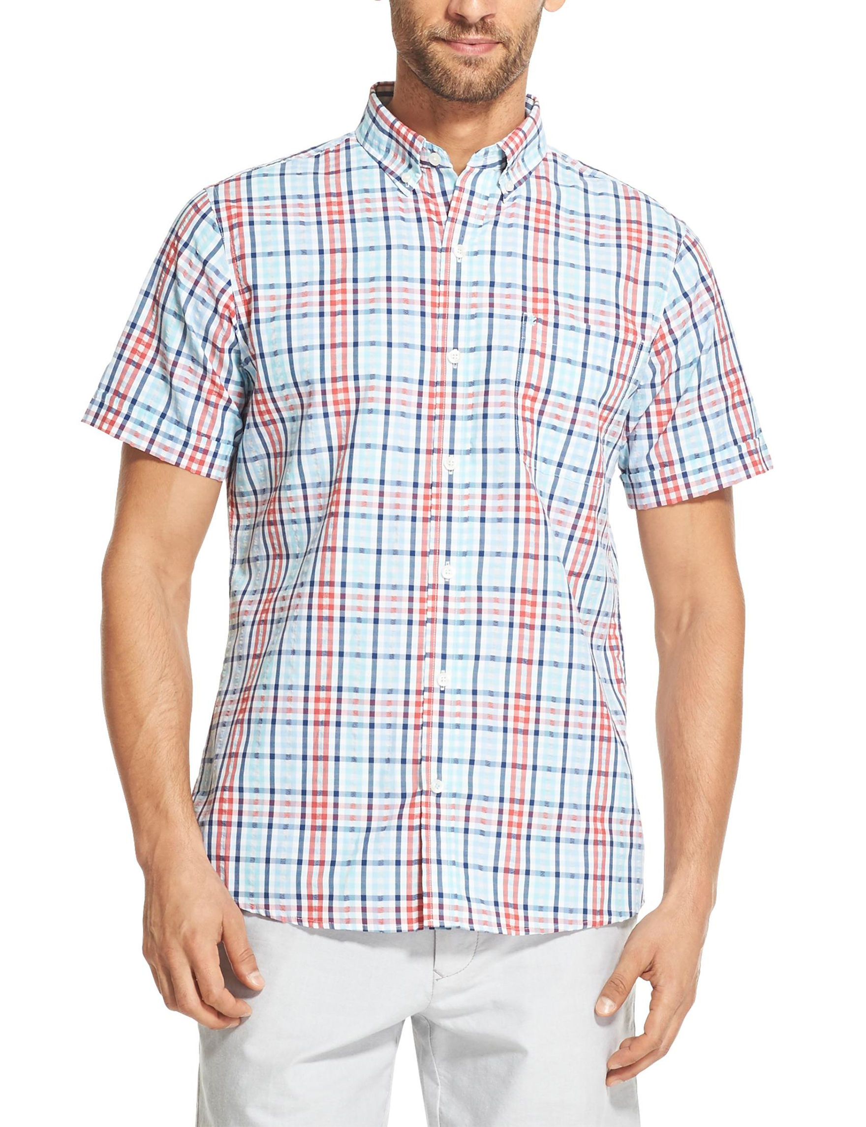 Izod Red Plaid Casual Button Down Shirts