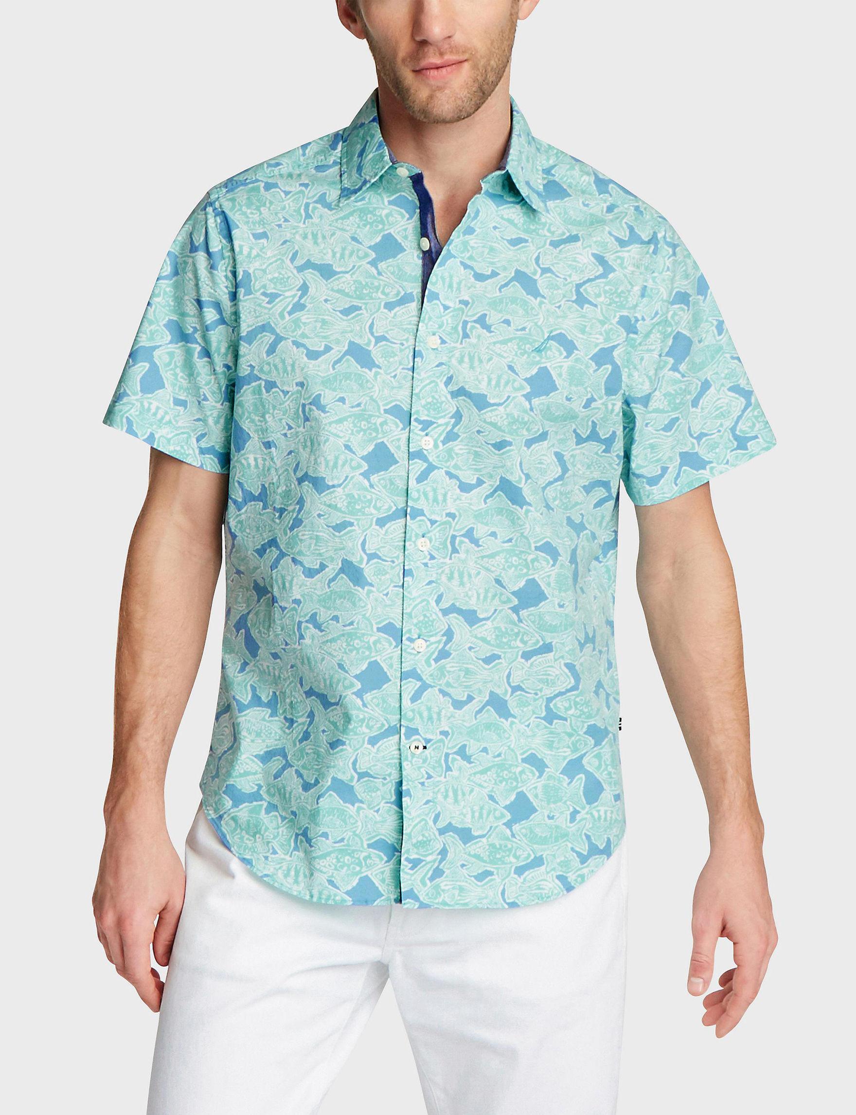 Nautica Alaskan Blue Casual Button Down Shirts