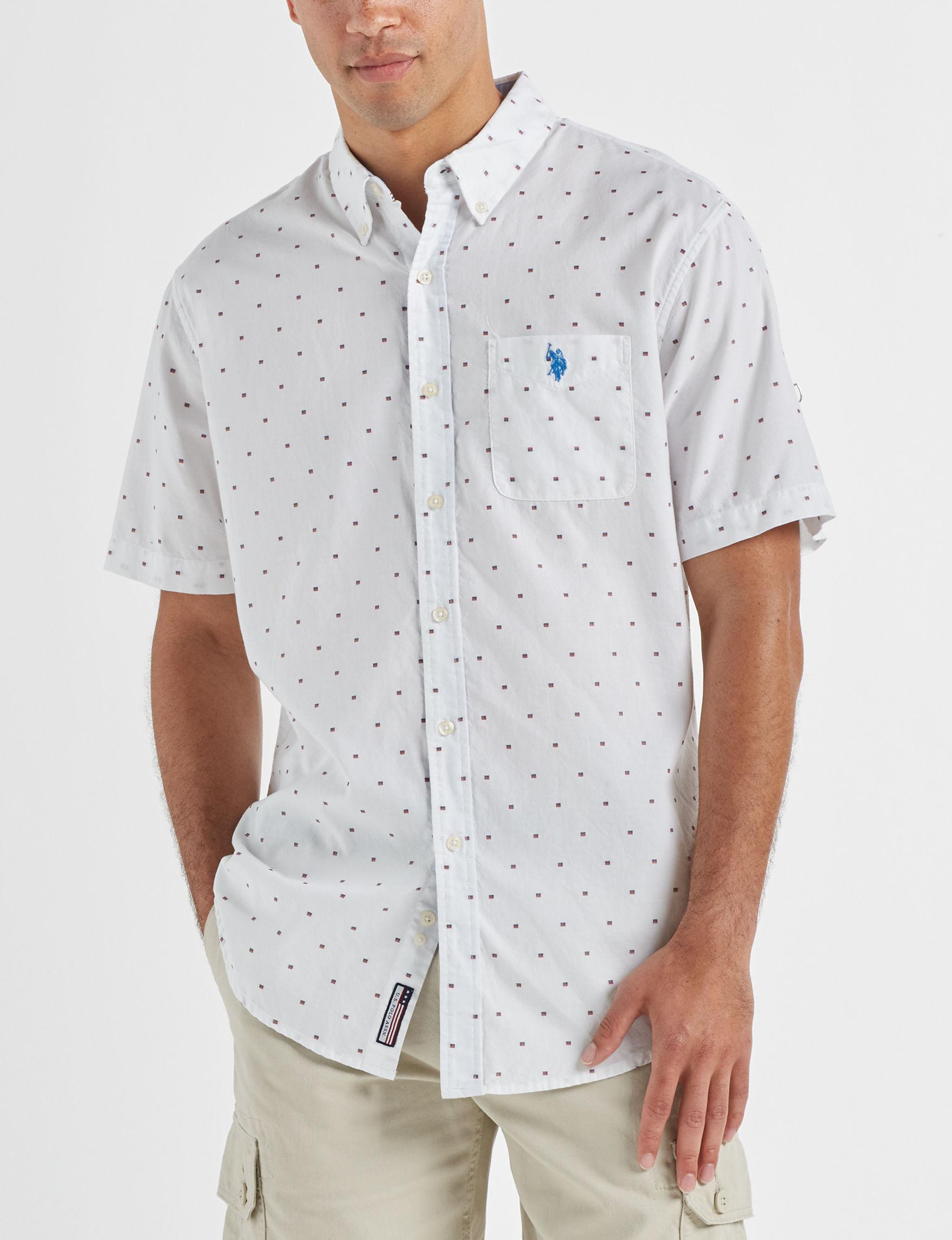 U.S. Polo Assn. White / Multi Casual Button Down Shirts