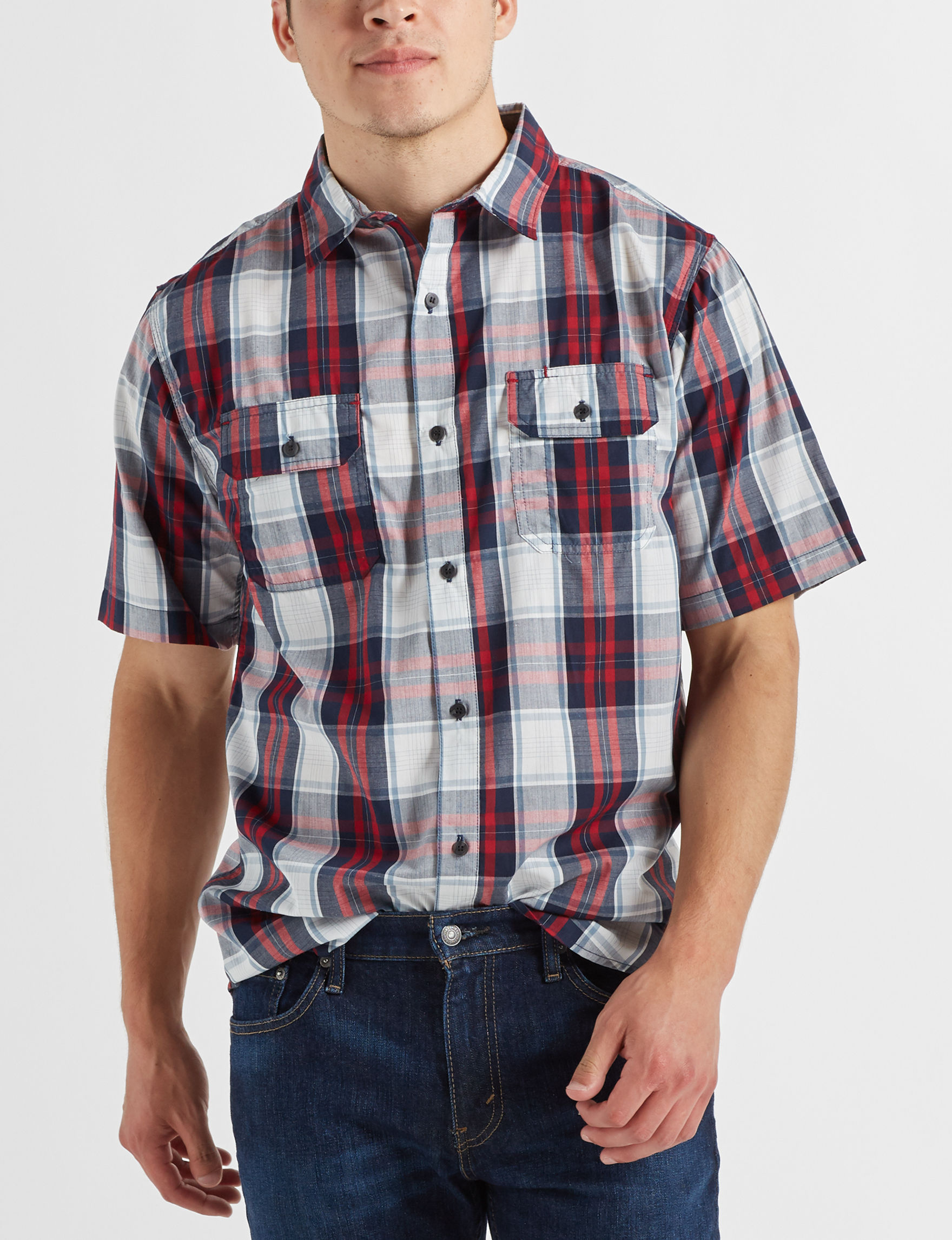 Scope Imports White / Red / Navy Casual Button Down Shirts