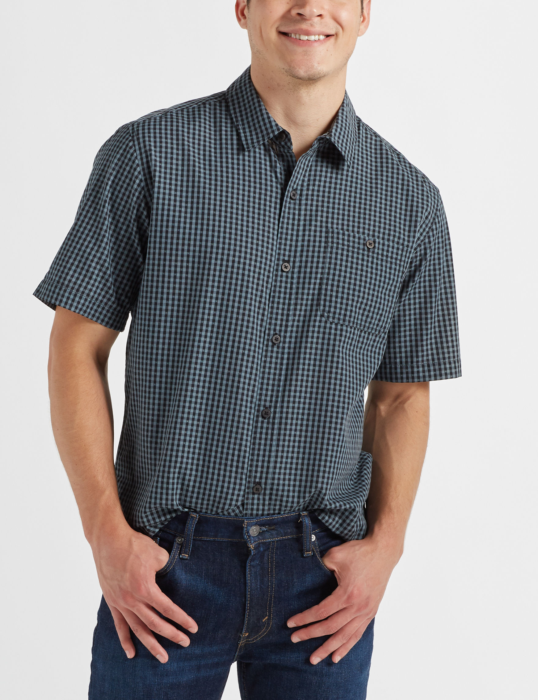 Scope Imports Black / Multi Casual Button Down Shirts